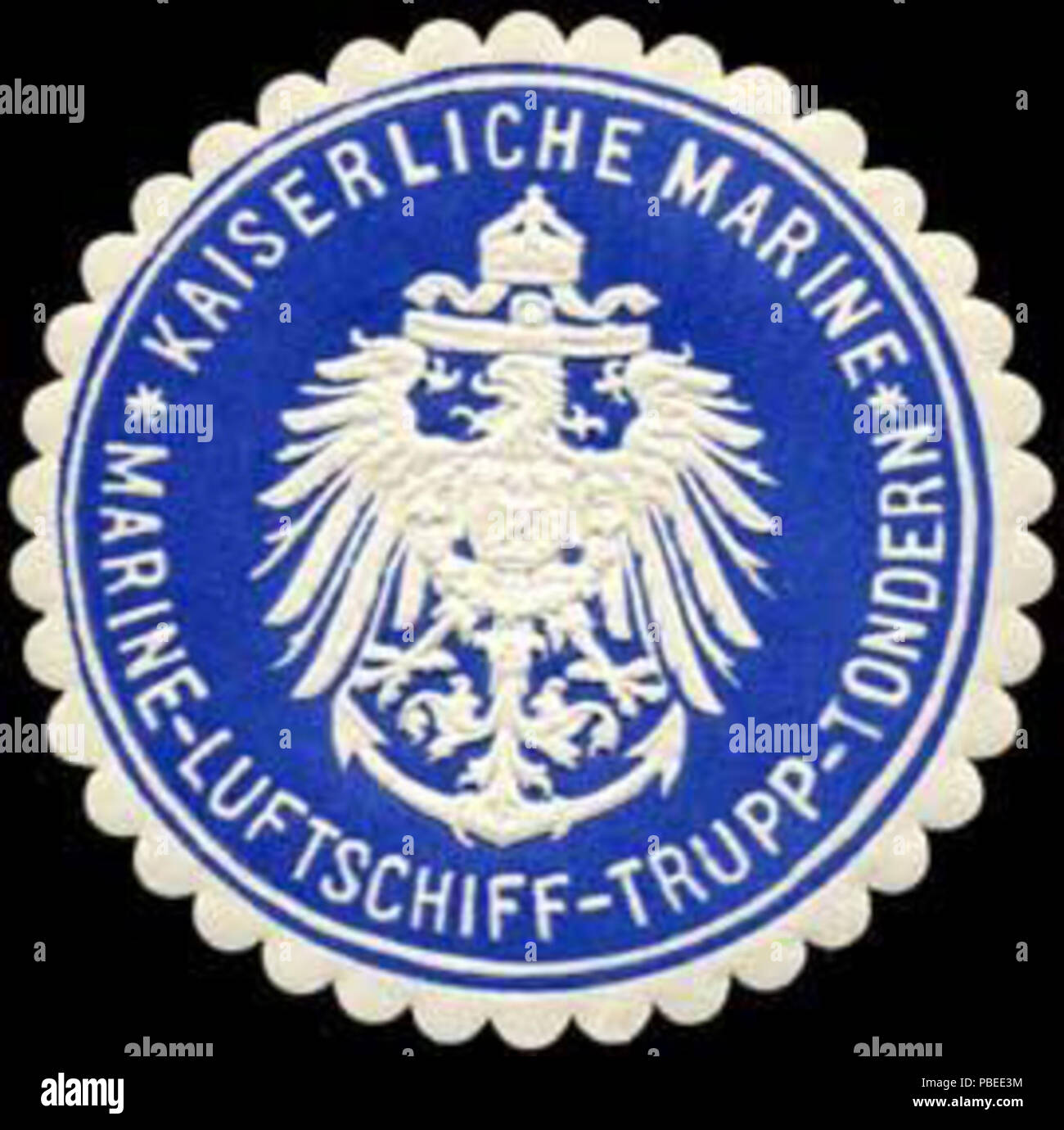 1438 Siegelmarke Kaiserliche Marine - Marine - Luftschiff - Trupp - Tondern W0245580 - Stock Image