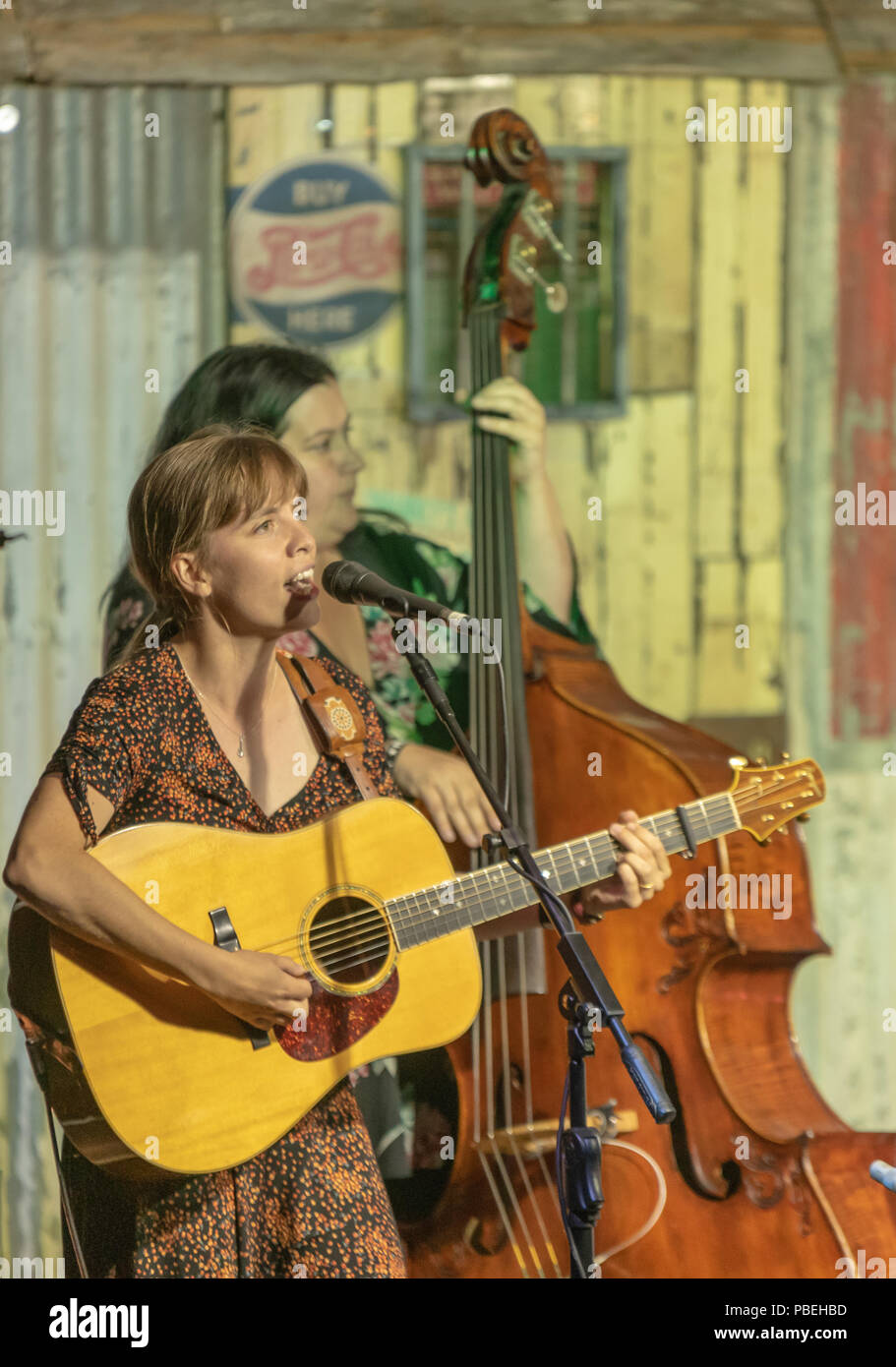Bournemouth, UK. 27th July 2018. Midnight Skyracer play as people enjoy the live bluegrass and country music, beer and food on offer at the Beer and Bluegrass Festival in Bournemouth. Credit: Thomas Faull/Alamy Live News Stock Photo