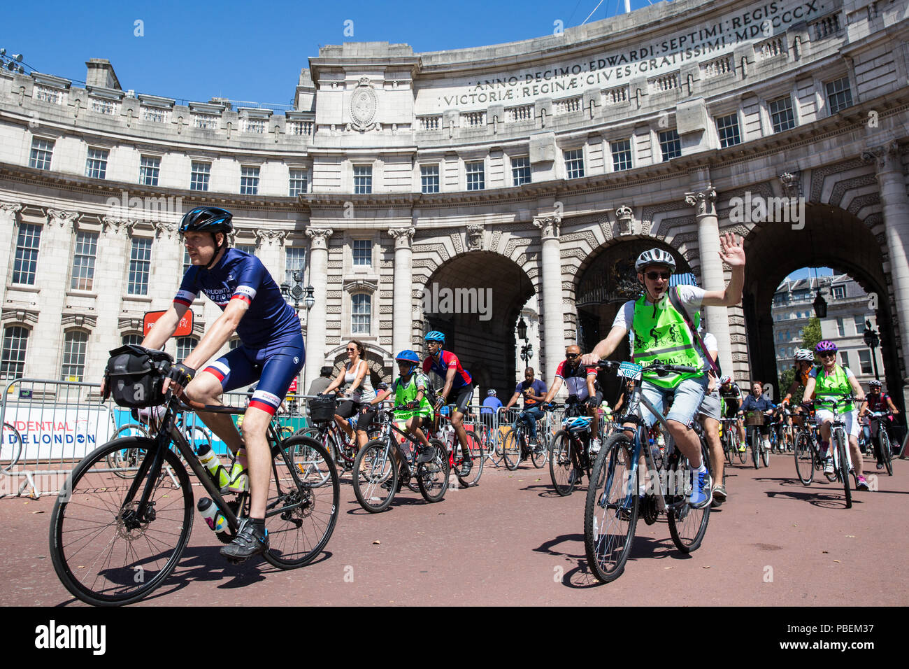 London, UK. 28th July, 2018. Members of the public take part in the Prudential RideLondon FreeCycle. This event enables people of all ages to enjoy cycling on traffic-free roads through central London passing some of the capital's most iconic landmarks. Credit: Mark Kerrison/Alamy Live News Stock Photo
