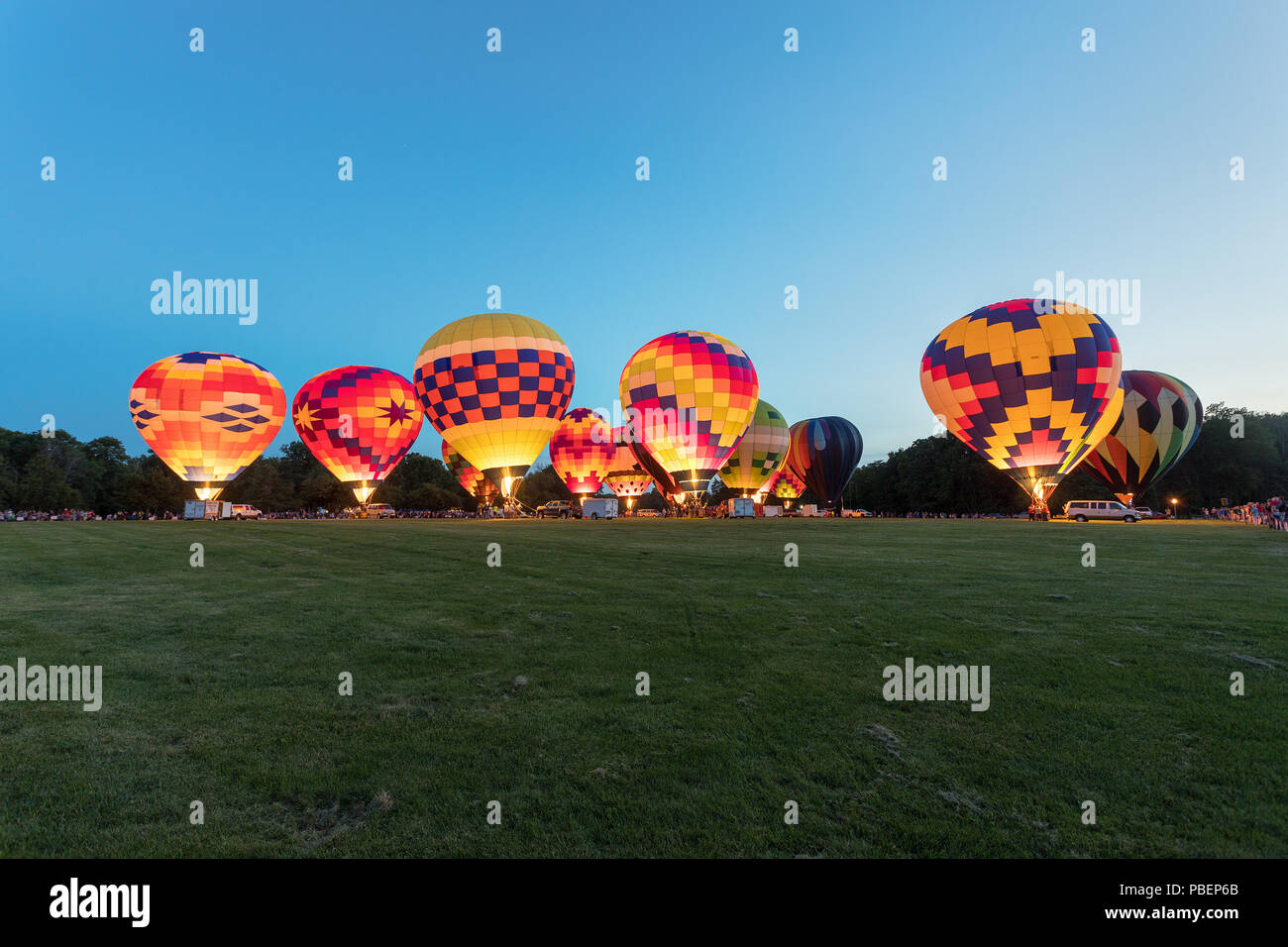 Galesburg, Illinois, USA. 26nd July, 2018. Approximately twenty hot airs balloons came to Galesburg, Illinois; USA for the annual Galesburg Balloon Race at Lake Storey. The event has been held in Galesburg since 2000. - Stock Image
