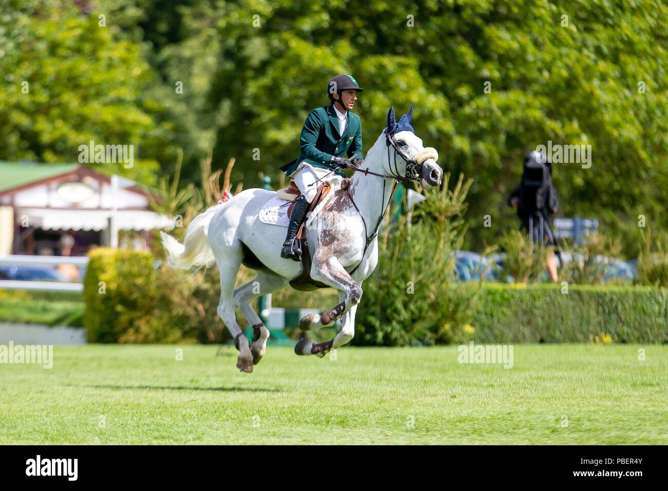 Sussex, UK. 28th July 2018. 3rd Place. Marlon Modolo Zanotelli riding Isabeau De Laubry.  BRA. The Bunn Lesiure Salver. Jump off. Showjumping. Longines FEI Jumping Nations Cup of Great Britain at the BHS Royal International Horse Show. All England Jumping Course. Hickstead. Great Britain. 28/07/2018. Credit: Sport In Pictures/Alamy Live News - Stock Image