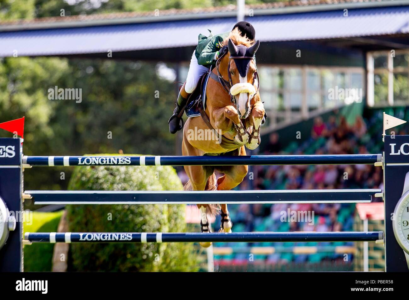 Sussex, UK. 28th July 2018. Luis Felipe Azevedo Filho riding Hermes Van De Vrobautshoeve.  BRA. The Bunn Lesiure Salver. Jump off. Showjumping. Longines FEI Jumping Nations Cup of Great Britain at the BHS Royal International Horse Show. All England Jumping Course. Hickstead. Great Britain. 28/07/2018. Credit: Sport In Pictures/Alamy Live News - Stock Image