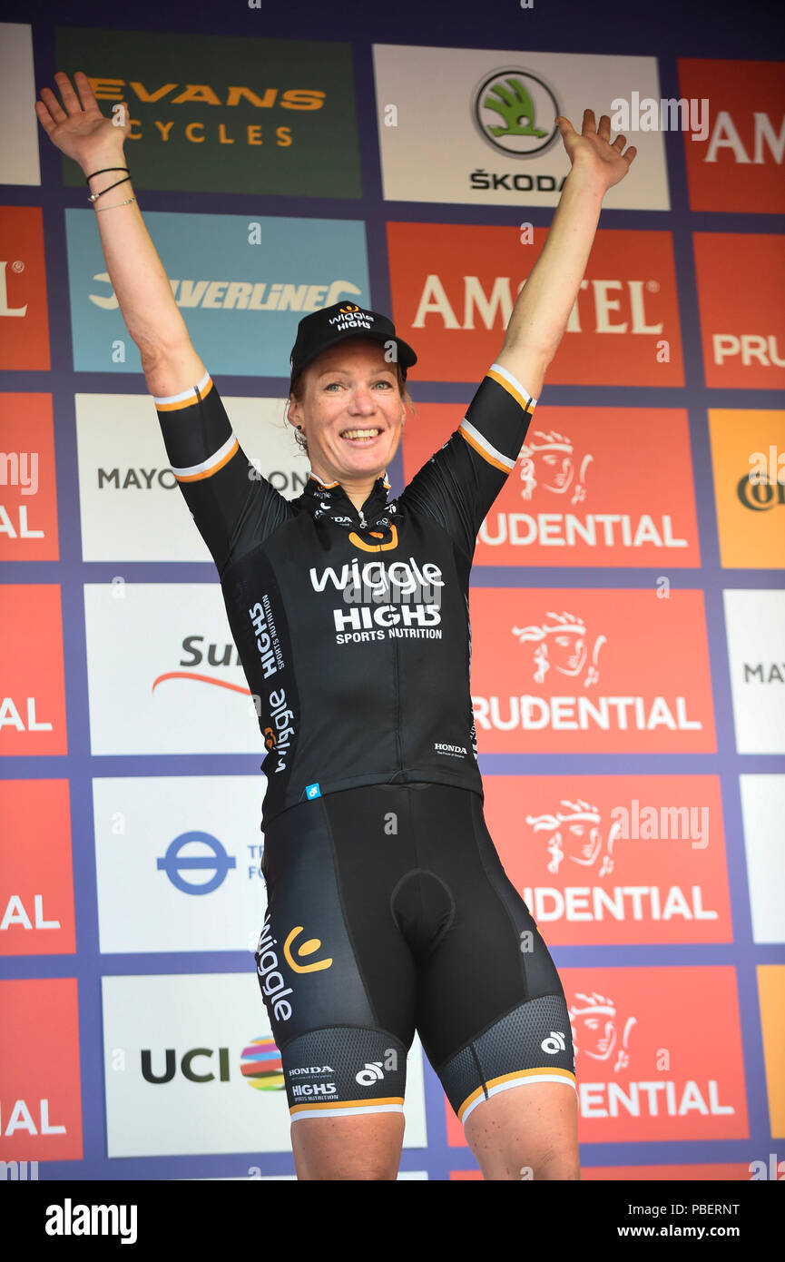 London, UK.  28 July 2018. Kirsten Wild of Team Wiggle High5 celebrates winning the Prudential RideLondon Classique riding 12 laps round a 5.4km circuit in central London.  Ranked as one of the top women's UCI WorldTour events, prize money for the race is the highest ever for a women's one day race and features 9 of the top 10 teams from the Women's World Tour. (Editorial use only)  Credit: Stephen Chung / Alamy Live News Stock Photo