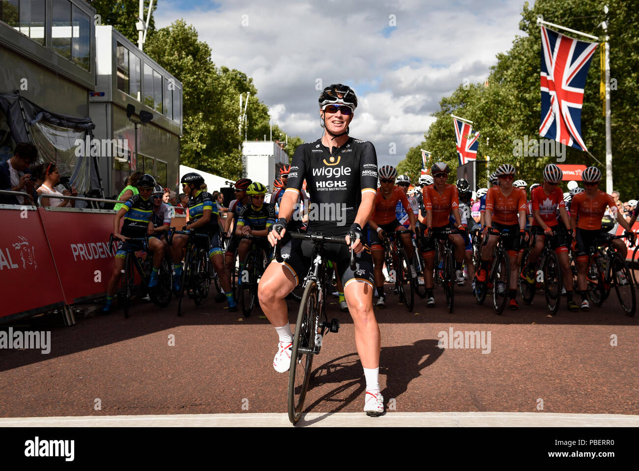 London, UK.  28 July 2018. Elite women riders take part in the Prudential RideLondon Classique riding 12 laps round a 5.4km circuit in central London, won by Kirsten Wild of Team Wiggle High5 (pictured).  Ranked as one of the top women's UCI WorldTour events, prize money for the race is the highest ever for a women's one day race and features 9 of the top 10 teams from the Women's World Tour. (Editorial use only)  Credit: Stephen Chung / Alamy Live News Stock Photo