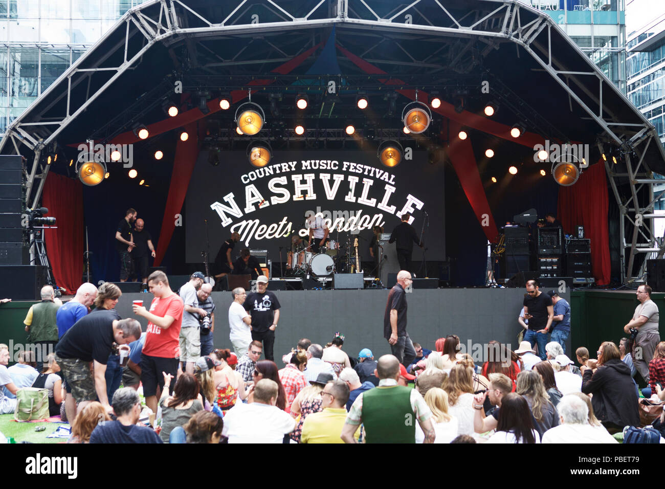 London UK, 28th July, 2018. A Country music festival - Nashville Meets London - on the 28th and 29th July at Canary Wharf. Stock Photo
