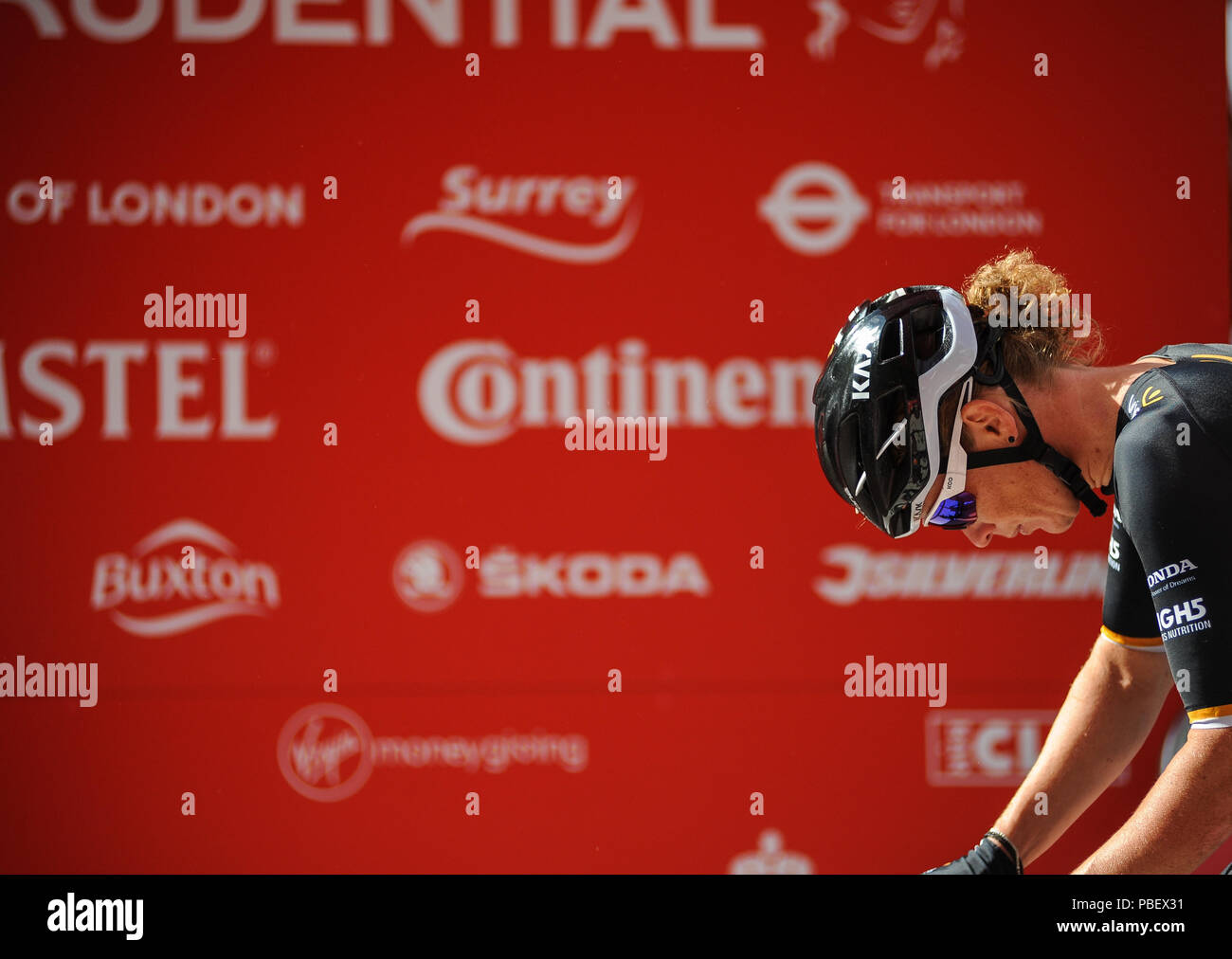 Central London, England, UK. 28th July 2018. Prudential RideLondon Classique. Kristen Wild, Wiggle High5, lines up on the Mall ahead of the Pro WomenÕs Criterium, the richest womenÕs one-day race in professional cycling and part of the Prudential RideLondon Festival of Cycling weekend. @ David Partridge / Alamy Live News Stock Photo