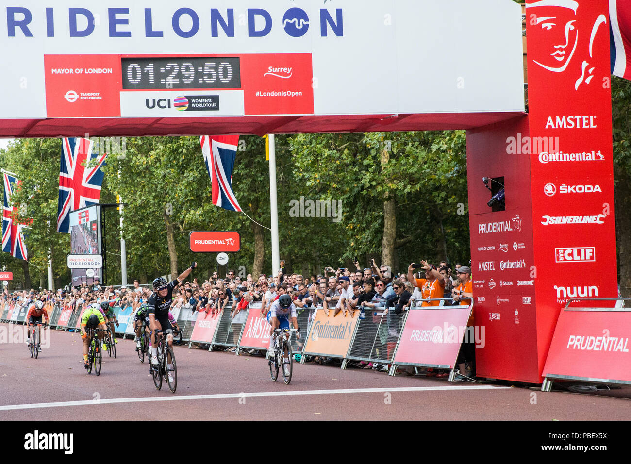 London, UK. 28th July, 2018. Kirsten Wild of the Wiggle High5 team wins the Prudential RideLondon Classique, the richest women's one-day race in cycling. The race is part of the UCI Women's World Tour and offers spectators the opportunity to see the world's best women's cycling teams battling it out over 12 laps of a closed 5.4km circuit starting and finishing on The Mall. Credit: Mark Kerrison/Alamy Live News Stock Photo