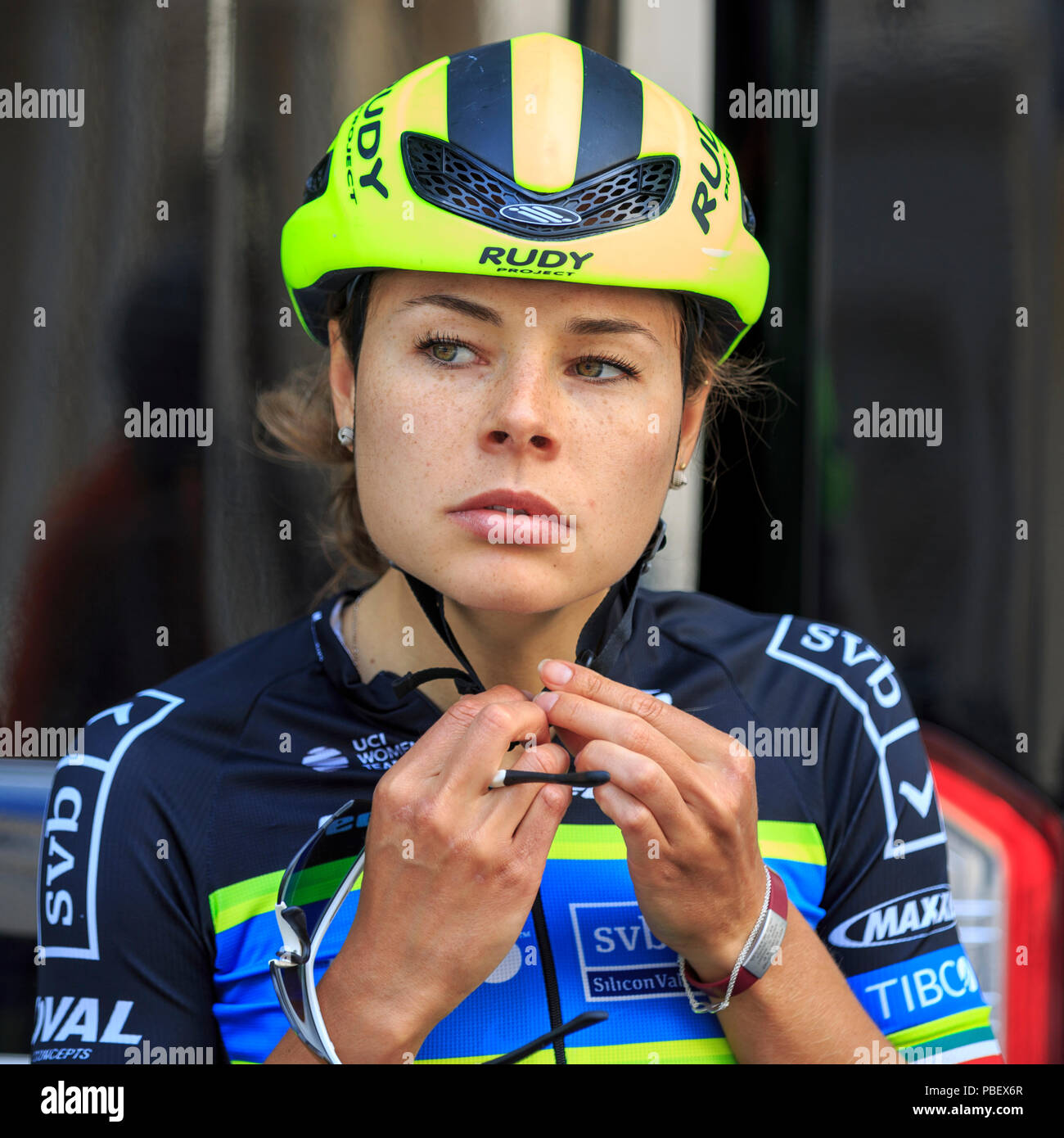 London, UK, 28 July 2018. Prudential RideLondon Classique. Ingrid Drexel (Team Tibco SVB, MEX) prepares ahead of the RideLondon Classique - a 65km race around a 5.4km circuit finishing on The Mall. The race was won by Kirsten Wild (Wiggle-High5, NED). Stock Photo