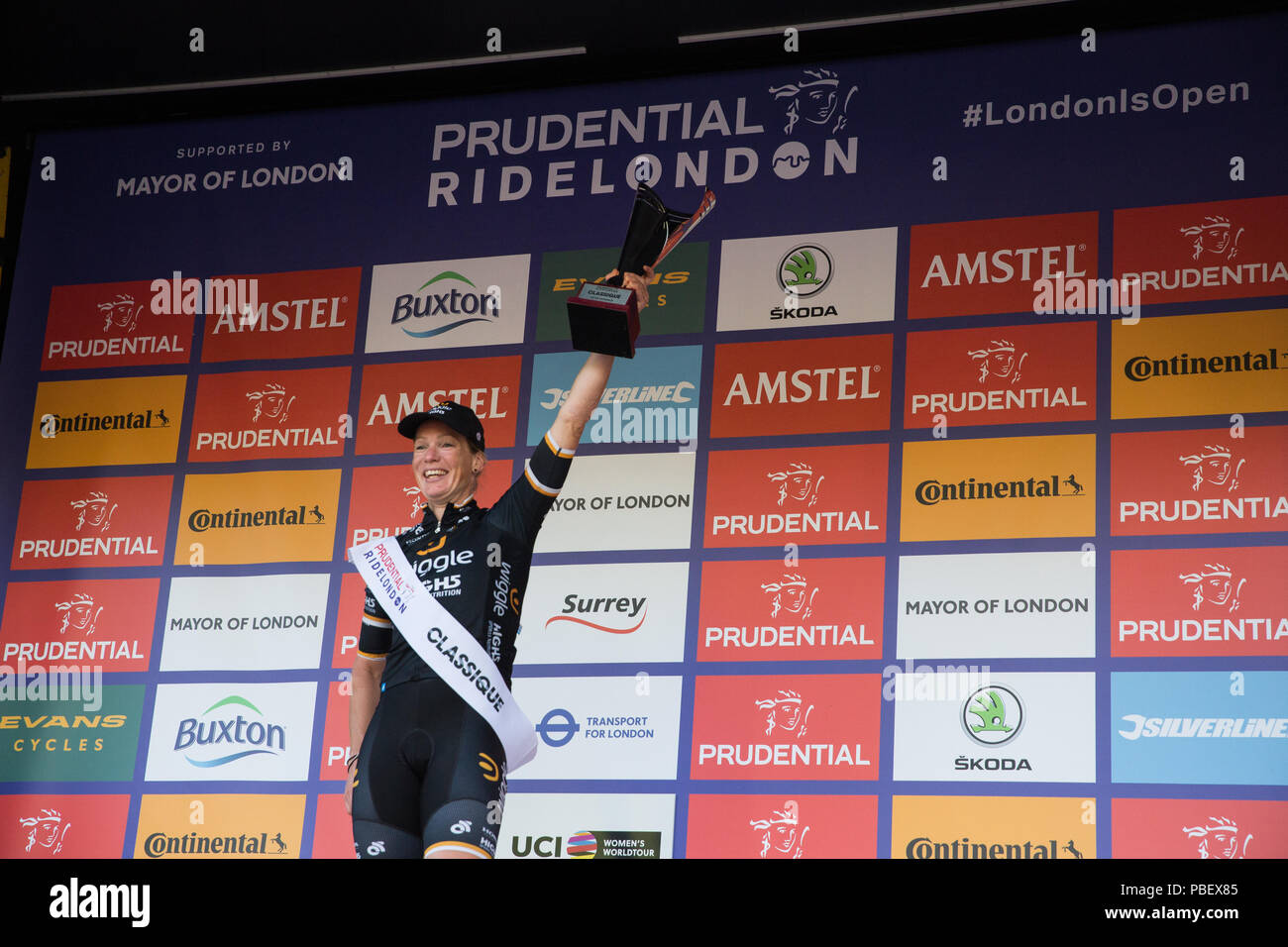 London, UK. 28th July, 2018. Kirsten Wild of the Wiggle High5 team celebrates winning the Prudential RideLondon Classique, the richest women's one-day race in cycling. The race is part of the UCI Women's World Tour and offers spectators the opportunity to see the world's best women's cycling teams battling it out over 12 laps of a closed 5.4km circuit in central London starting and finishing on The Mall. Credit: Mark Kerrison/Alamy Live News Stock Photo