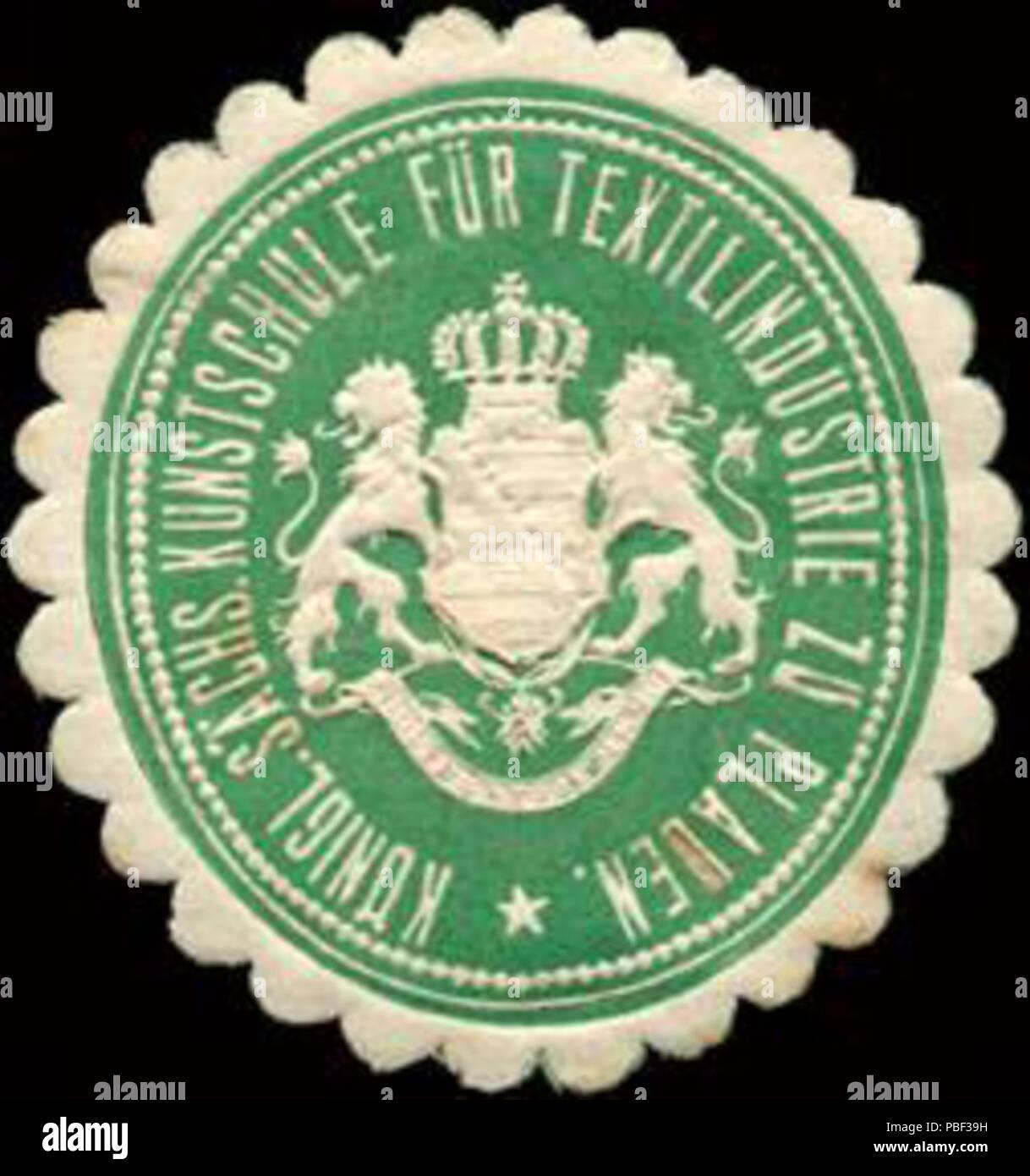 Alte Briefverschlussmarke aus Papier, welche seit ca. 1850 von Behoerden, Anwaelten, Notaren und Firmen zum verschliessen der Post verwendet wurde. 1462 Siegelmarke Königlich Sächsische Kunstschule für Textilindustrie zu Plauen W0213497 - Stock Image
