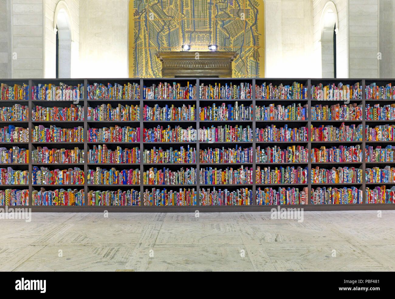 The American Library art installation by Yinka Shonibare in Cleveland Public Library Brett Hall in Cleveland, Ohio, USA. - Stock Image