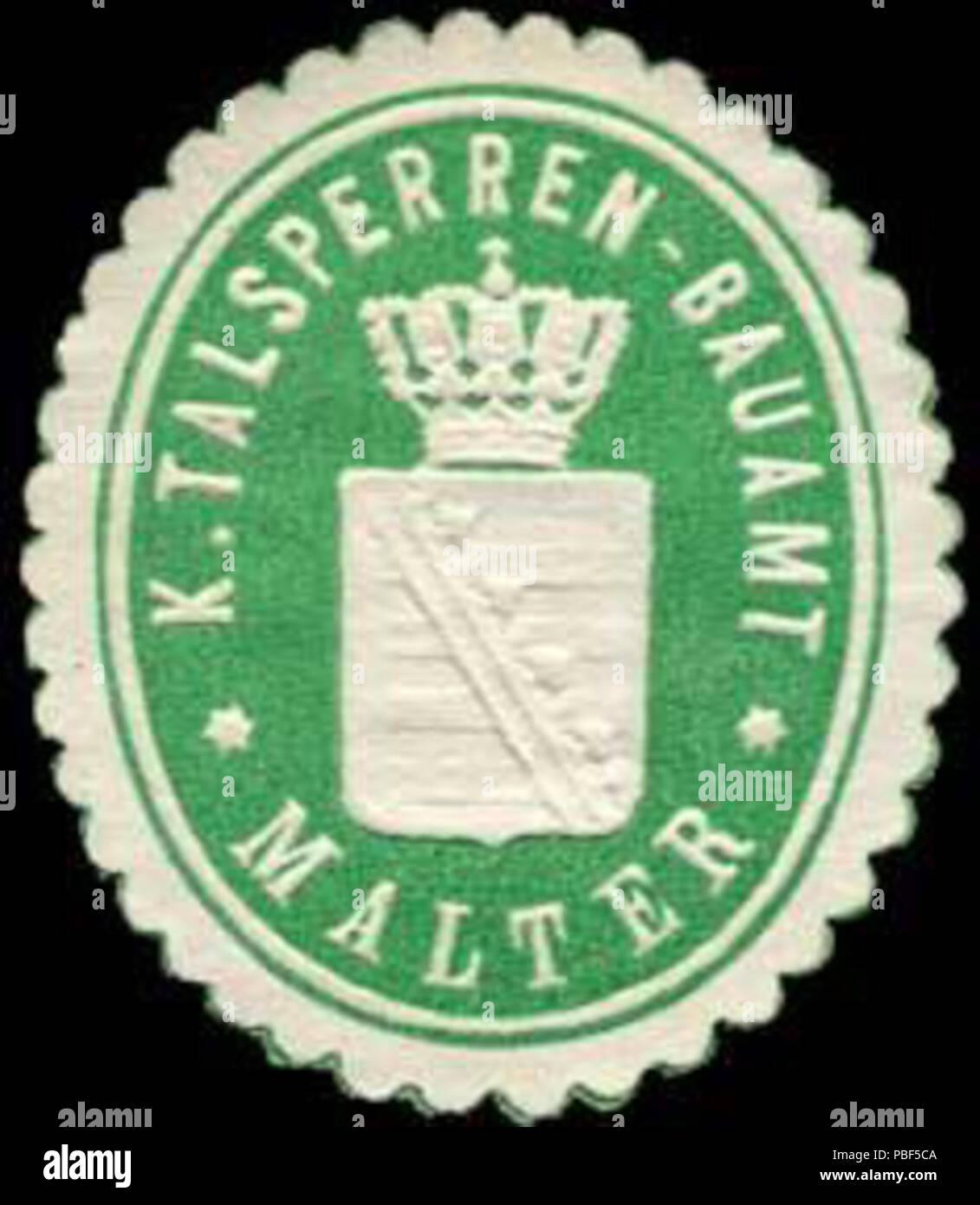 Alte Briefverschlussmarke aus Papier, welche seit ca. 1850 von Behoerden, Anwaelten, Notaren und Firmen zum verschliessen der Post verwendet wurde. 1473 Siegelmarke Königliches Talsperren - Bauamt - Malter W0253840 Stock Photo
