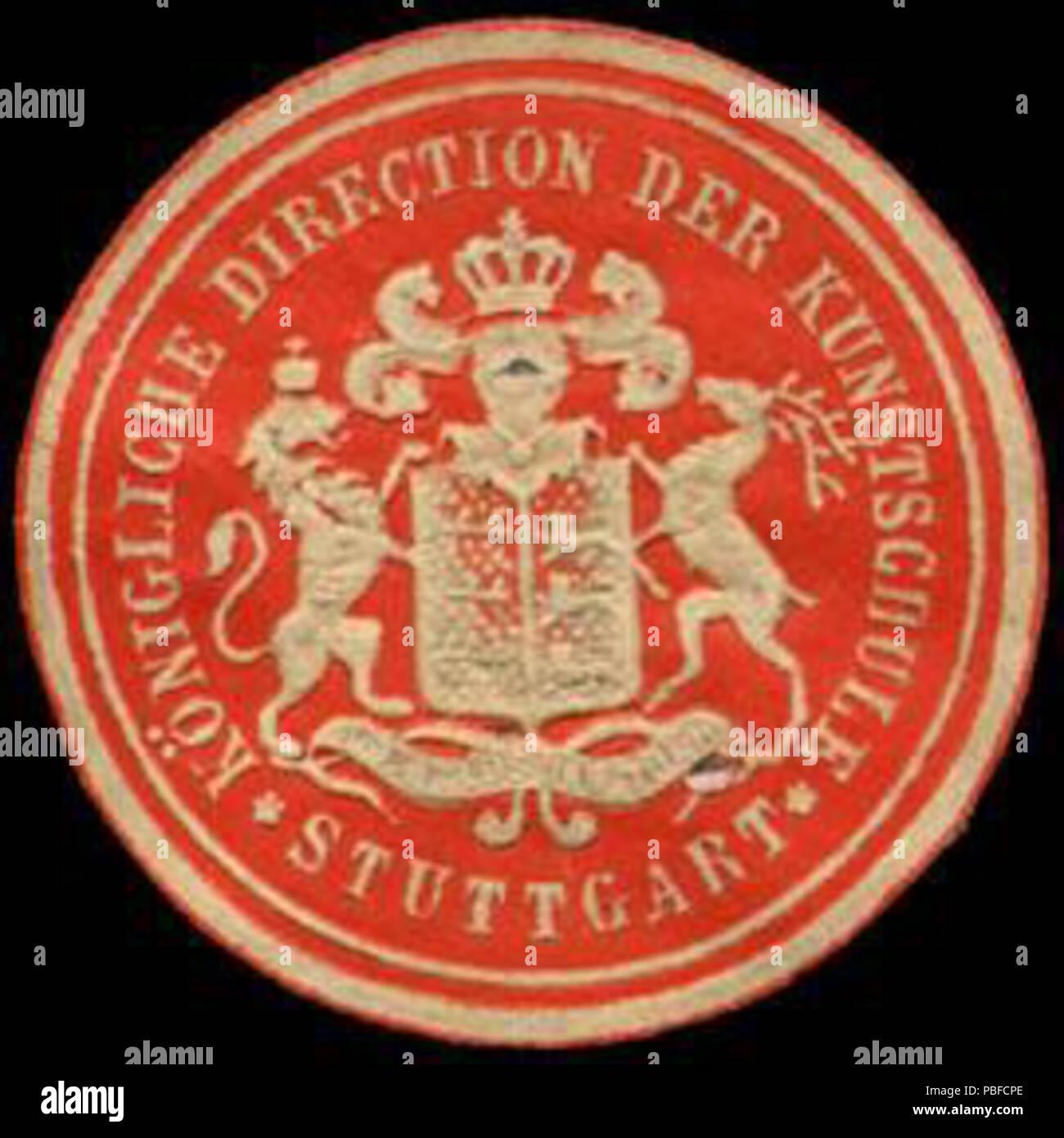 Alte Briefverschlussmarke aus Papier, welche seit ca. 1850 von Behoerden, Anwaelten, Notaren und Firmen zum verschliessen der Post verwendet wurde. 1466 Siegelmarke Königliche Direction der Kunstschule - Stuttgart W0232882 - Stock Image