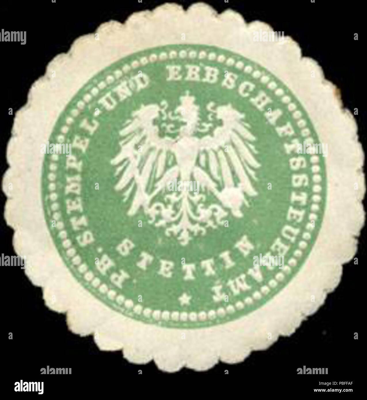 1496 Siegelmarke Preussisches Stempel - und Erbschaftssteueramt Stettin W0211245 - Stock Image