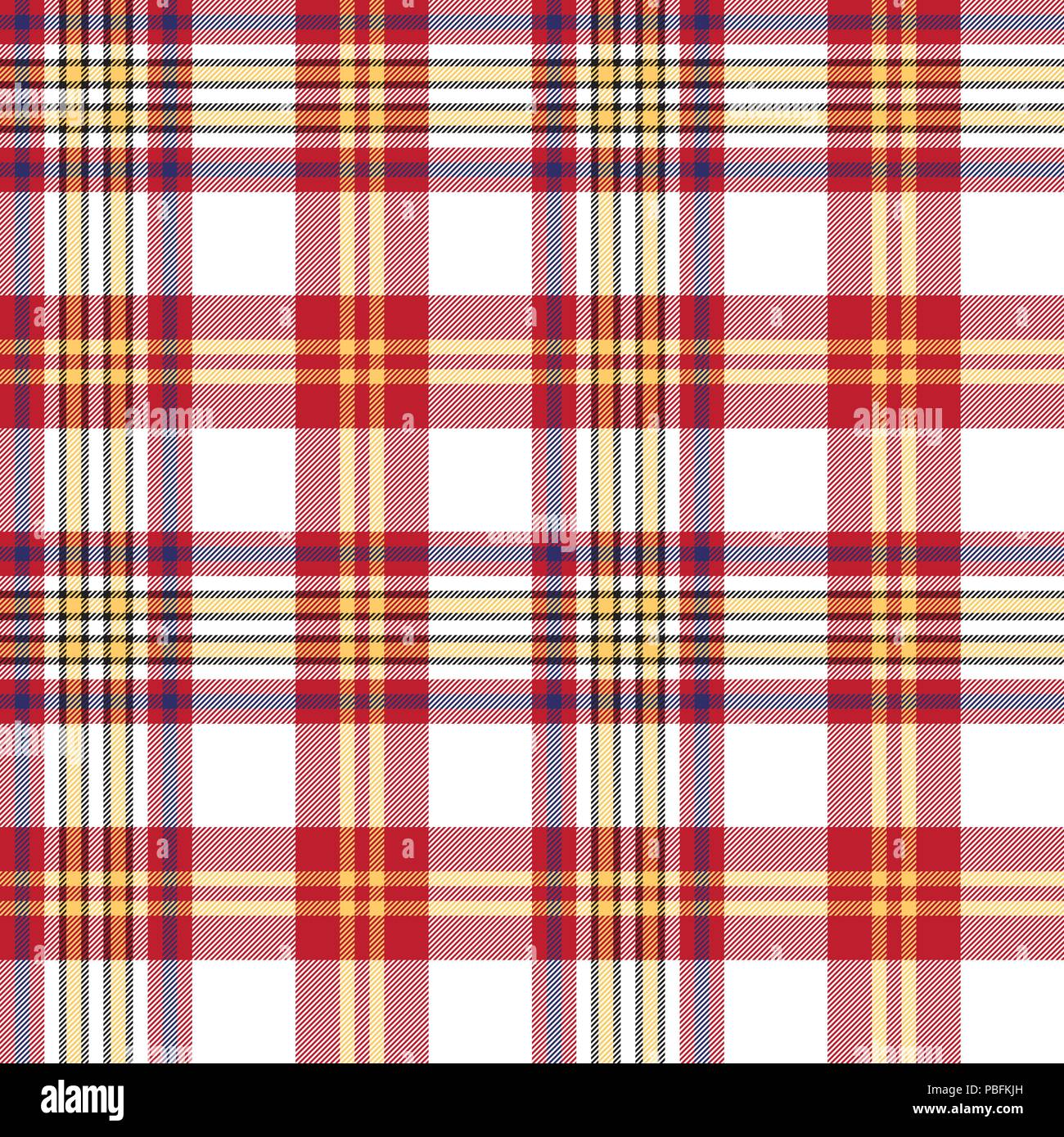 White red check seamless fabric texture  Vector illustration