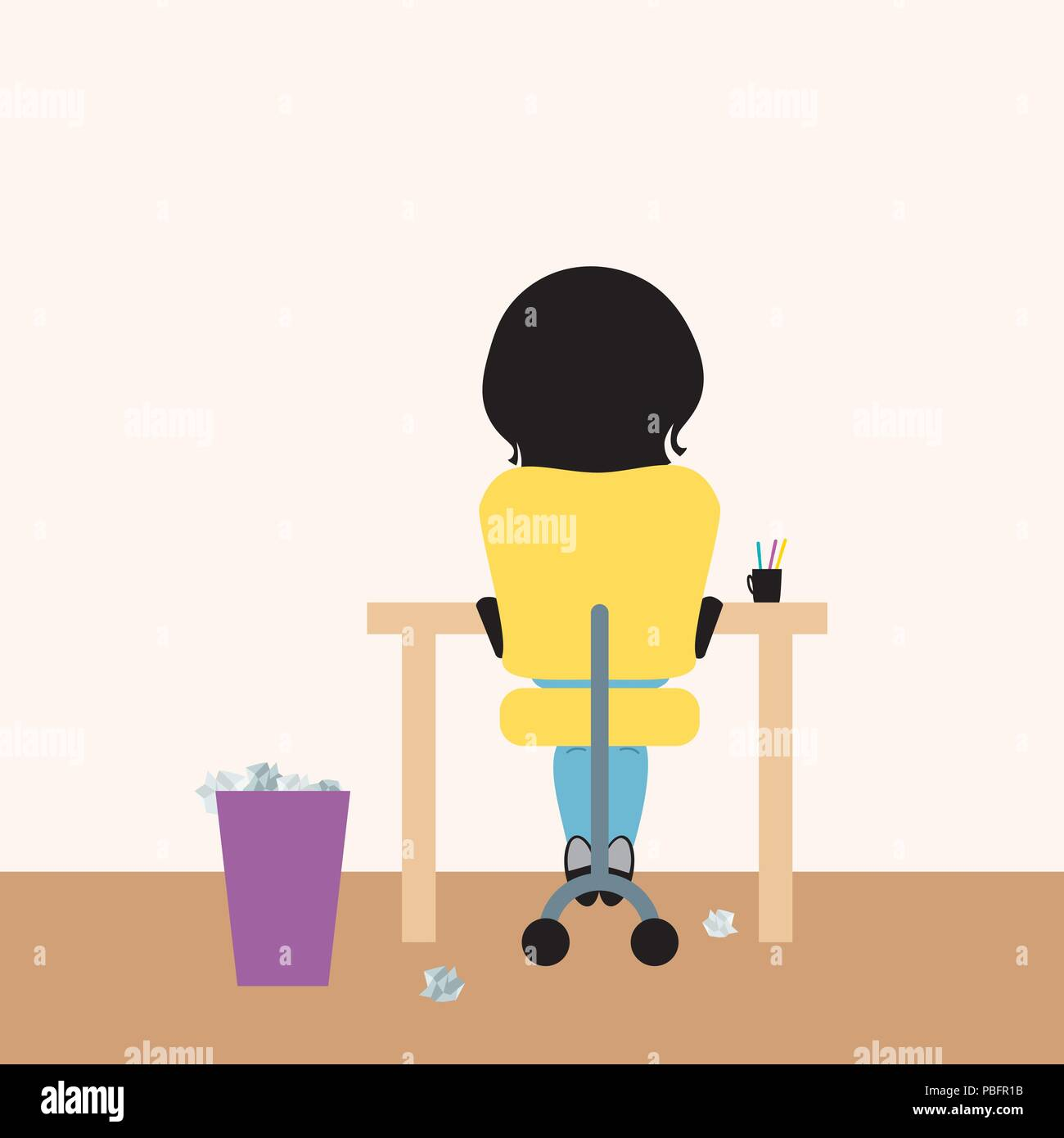 Young woman sitting on office chair at desk and paper basket, working from home or studying at school, or writing homework - vector - Stock Vector