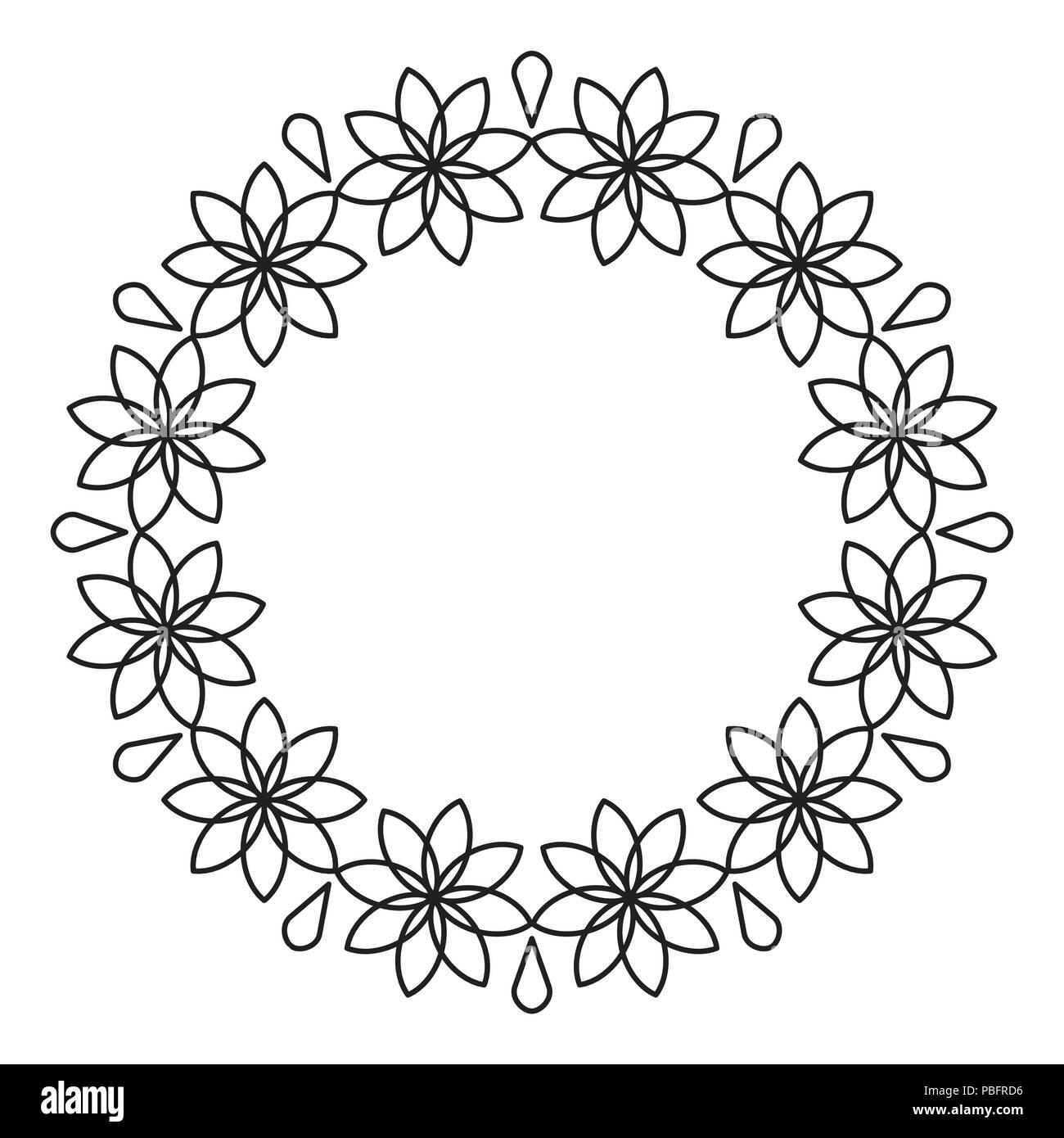 Outline flowers circle frame design, monochrome, floral