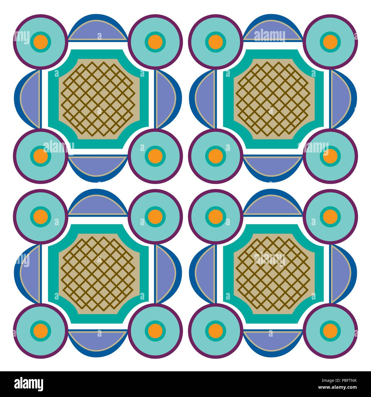 Geometric tile blocks, colorful decorative design elements Stock