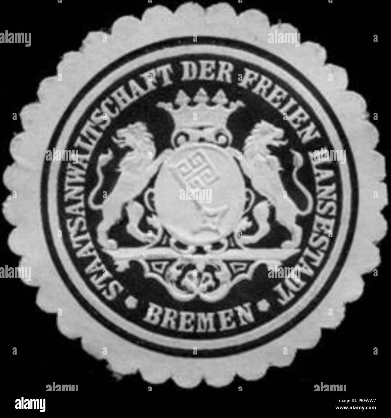 1513 Siegelmarke Staatsanwaltschaft der Freien Hansestadt - Bremen W0221364 Stock Photo