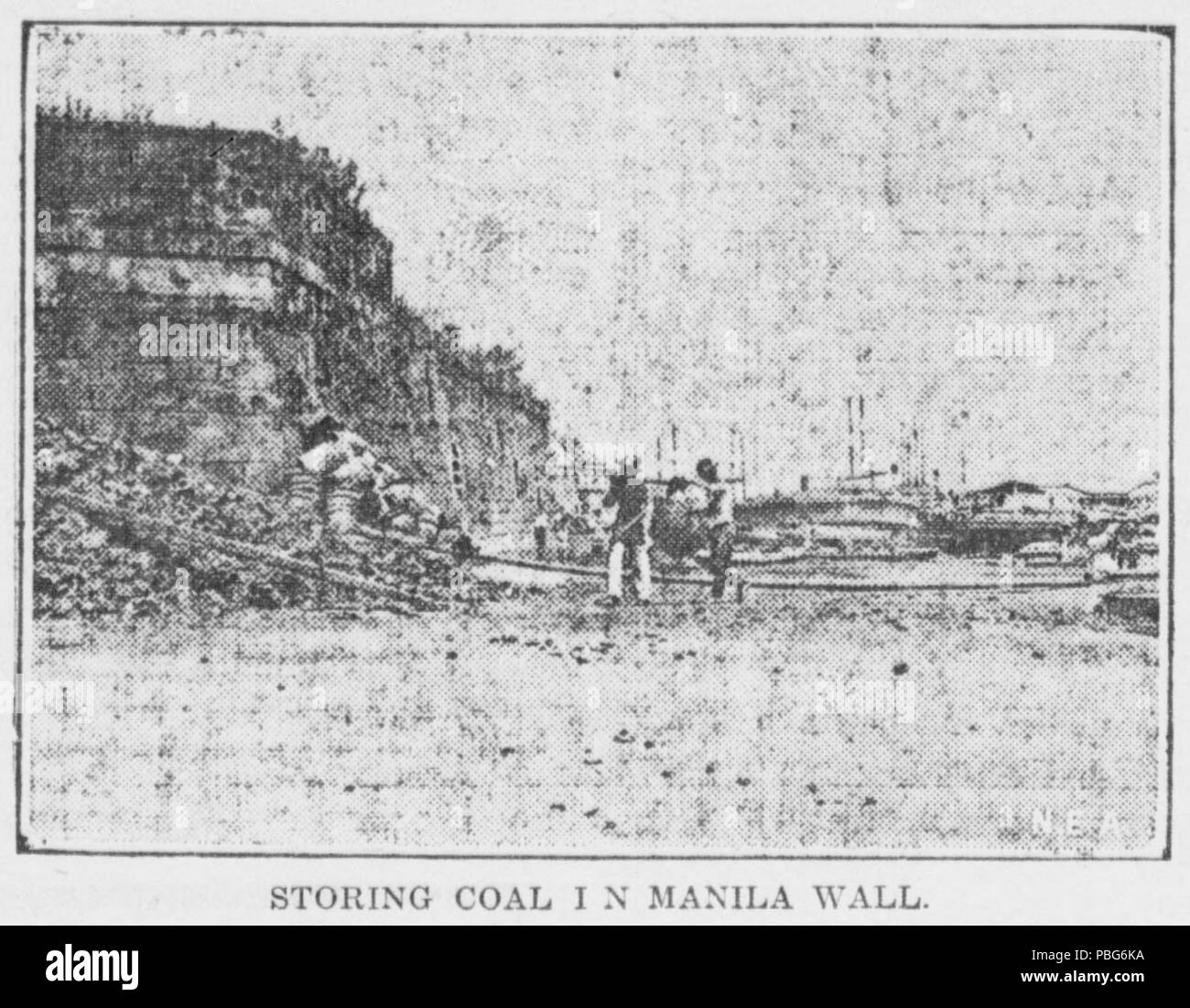 1577 Storing coal in Manila Wall - Stock Image
