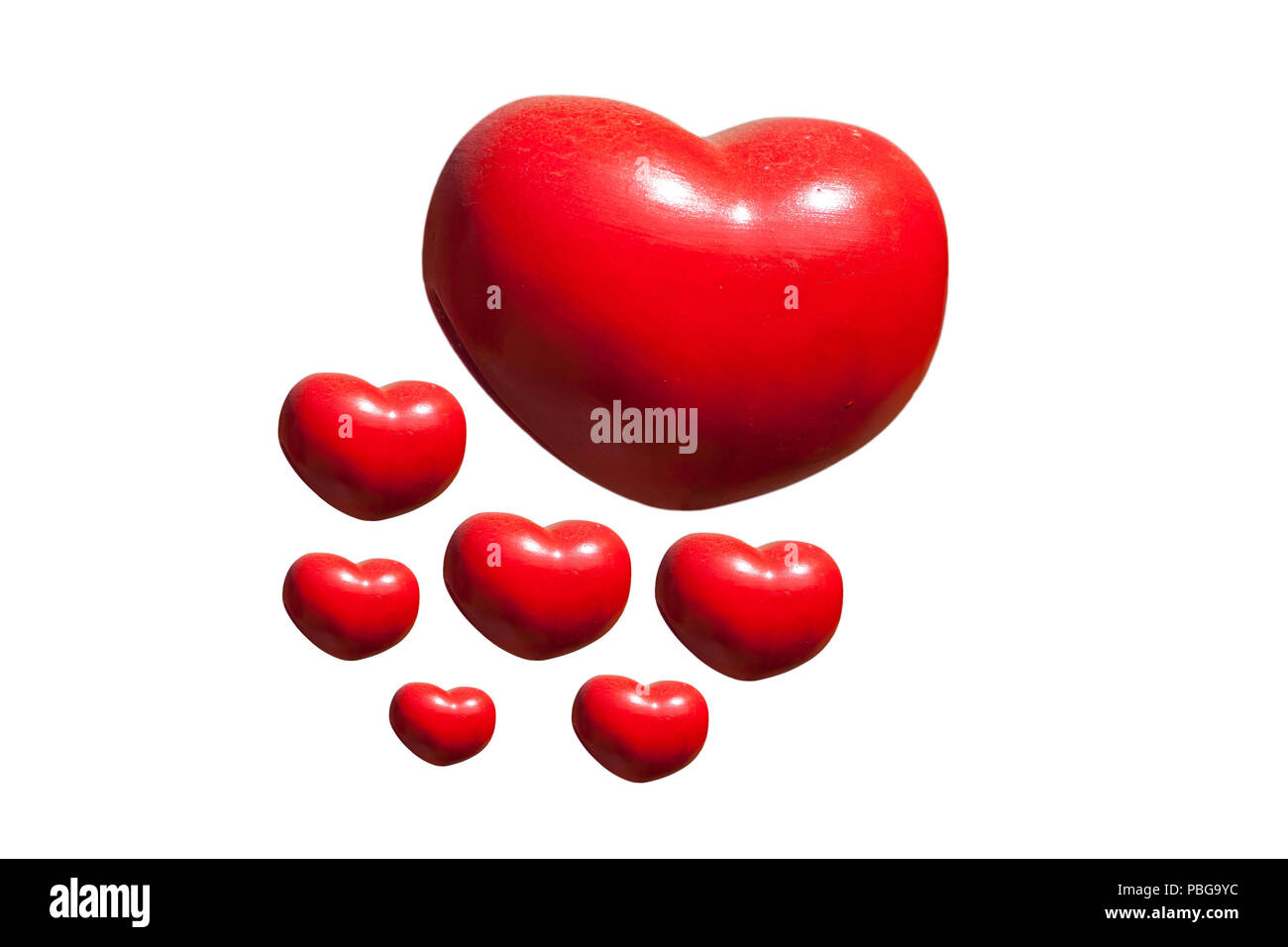 Group of red heart isolated on white - Stock Image