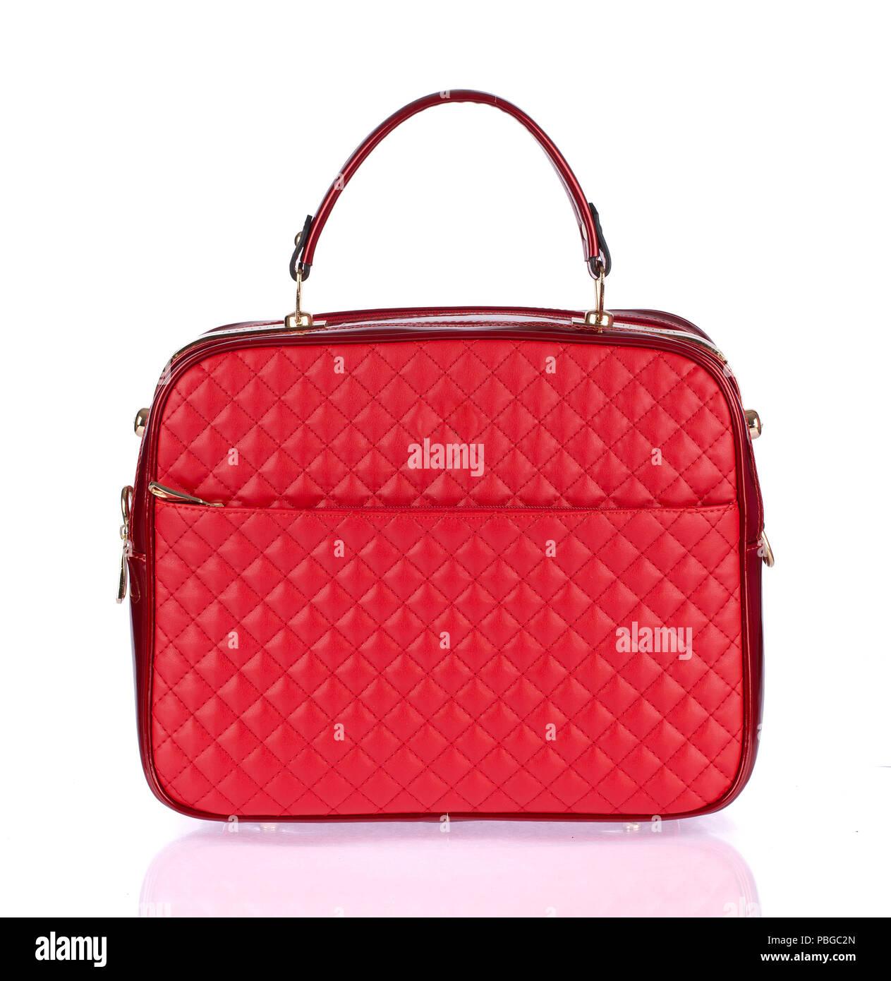 67015de4d2b92 Elegant women red bag isolated on white background Stock Photo ...