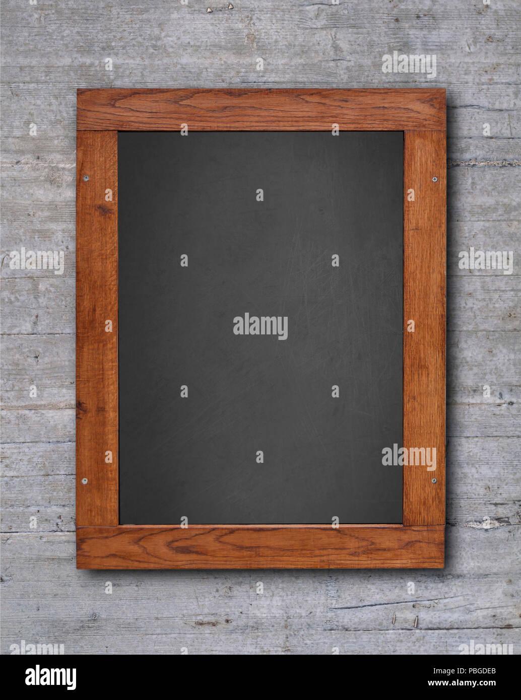 Blackboard in wooden frame on wall Stock Photo: 213647459 - Alamy