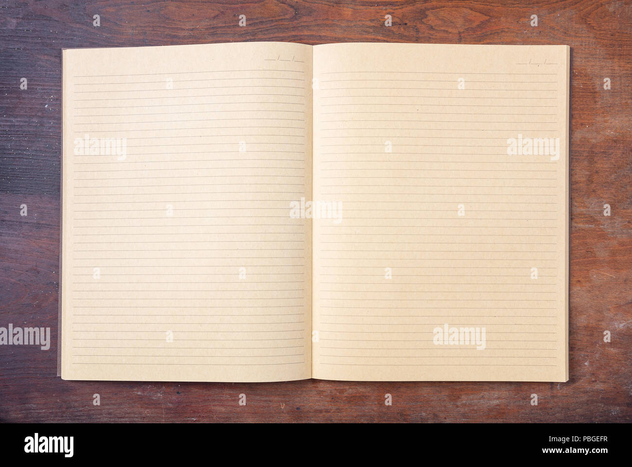 Open Blank School Notebook Or Diary, Old Fashioned, Isolated On Wooden Desk,  Space For Text, Top View