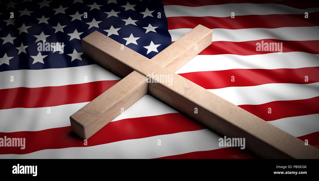 usa and christianity christian cross on american flag background