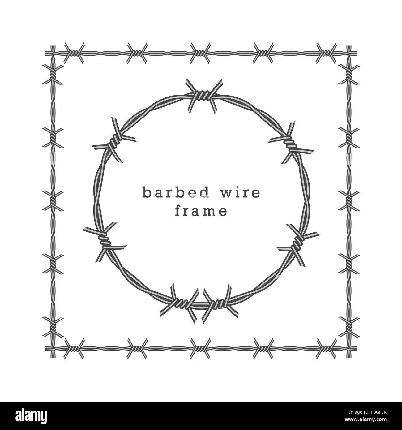 Square and Circle Barbed Wire Frames, Illustration. Military Frames ...