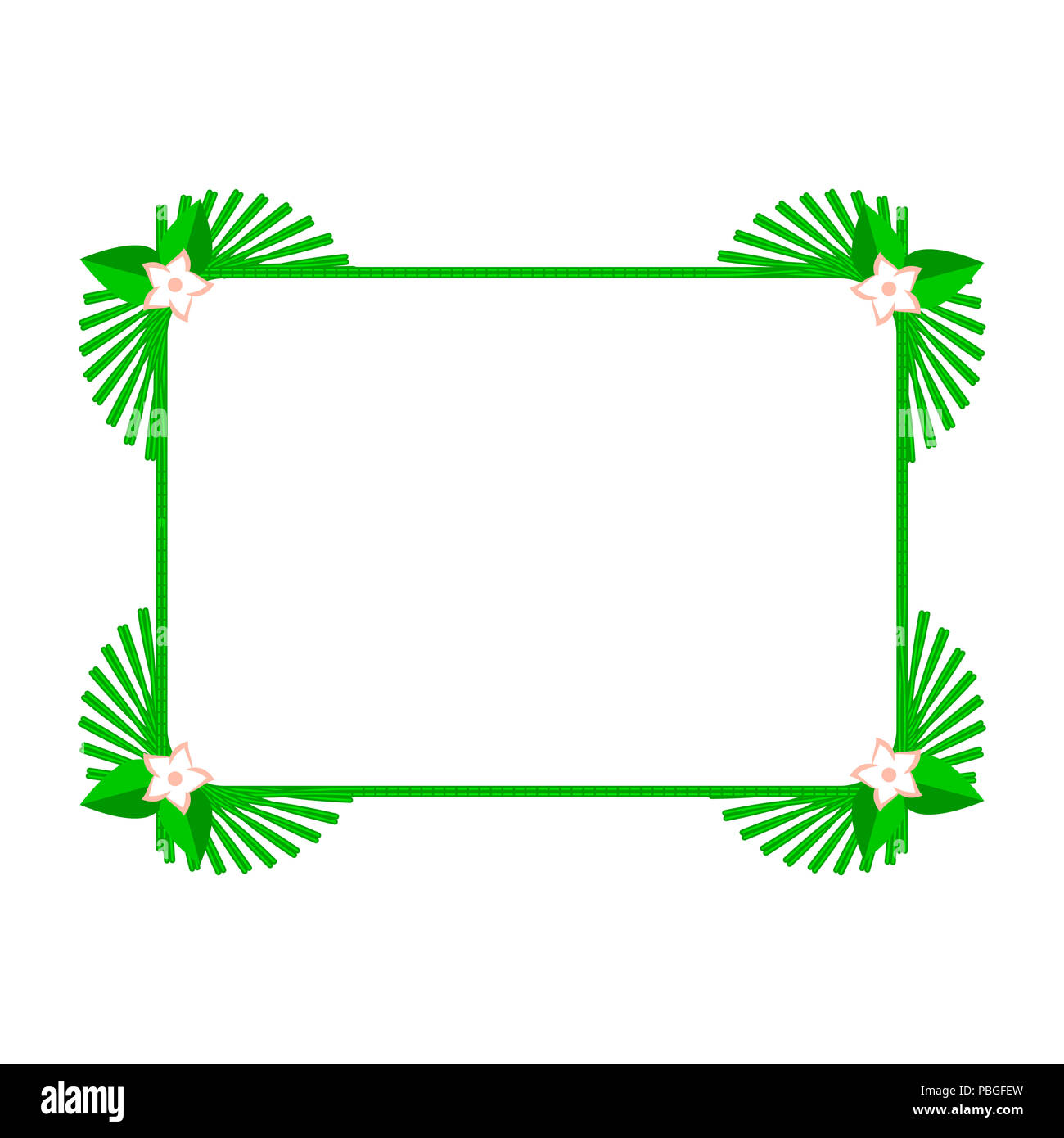 Green Square Summer Frame or Border. Design Elements Set for Web ...