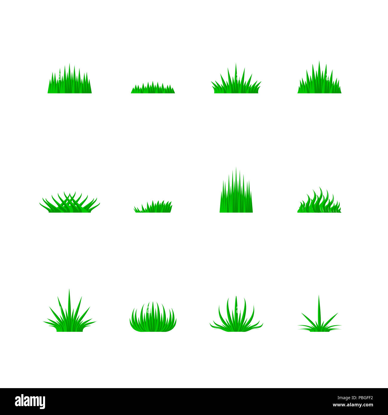 Green Grass of Different Shapes, Nature Icon Set. Grass Bunchs Set. Design Elements