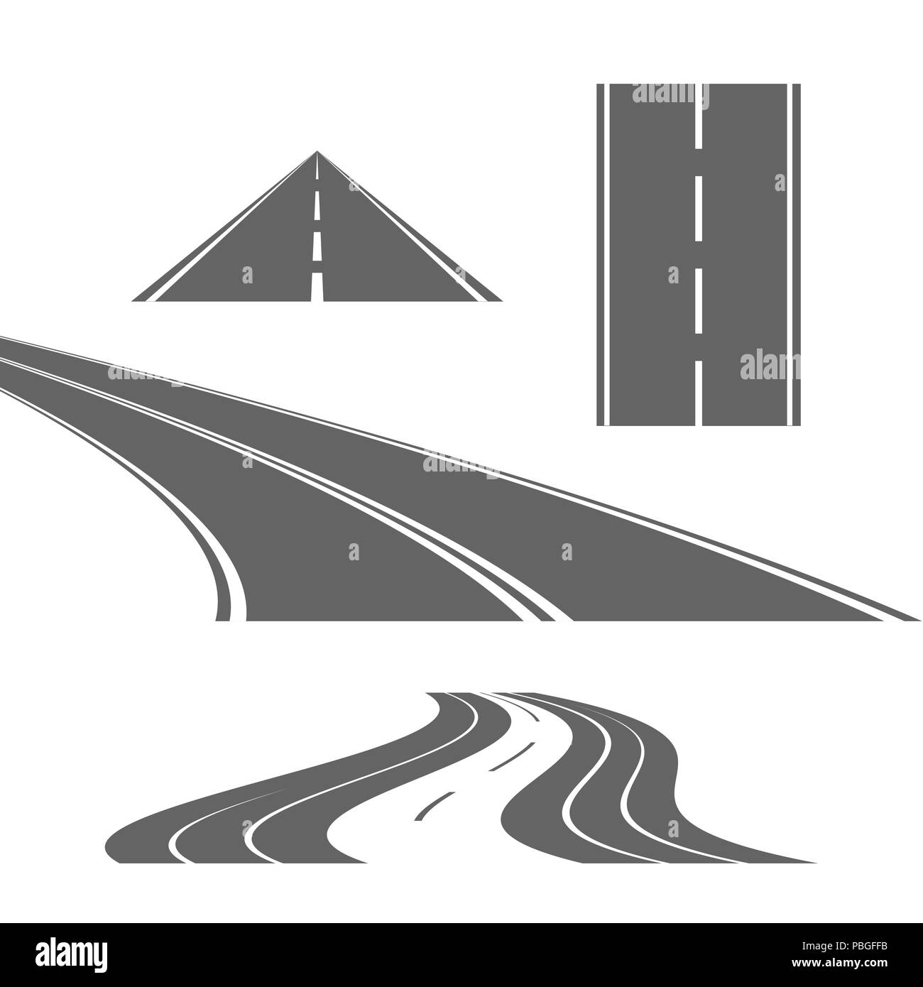 Curve and Straight Roads Isolated on White Background. Design Elements Set for Web Design, Banners, Presentations or Business Cards, Flyers, Brochures - Stock Image