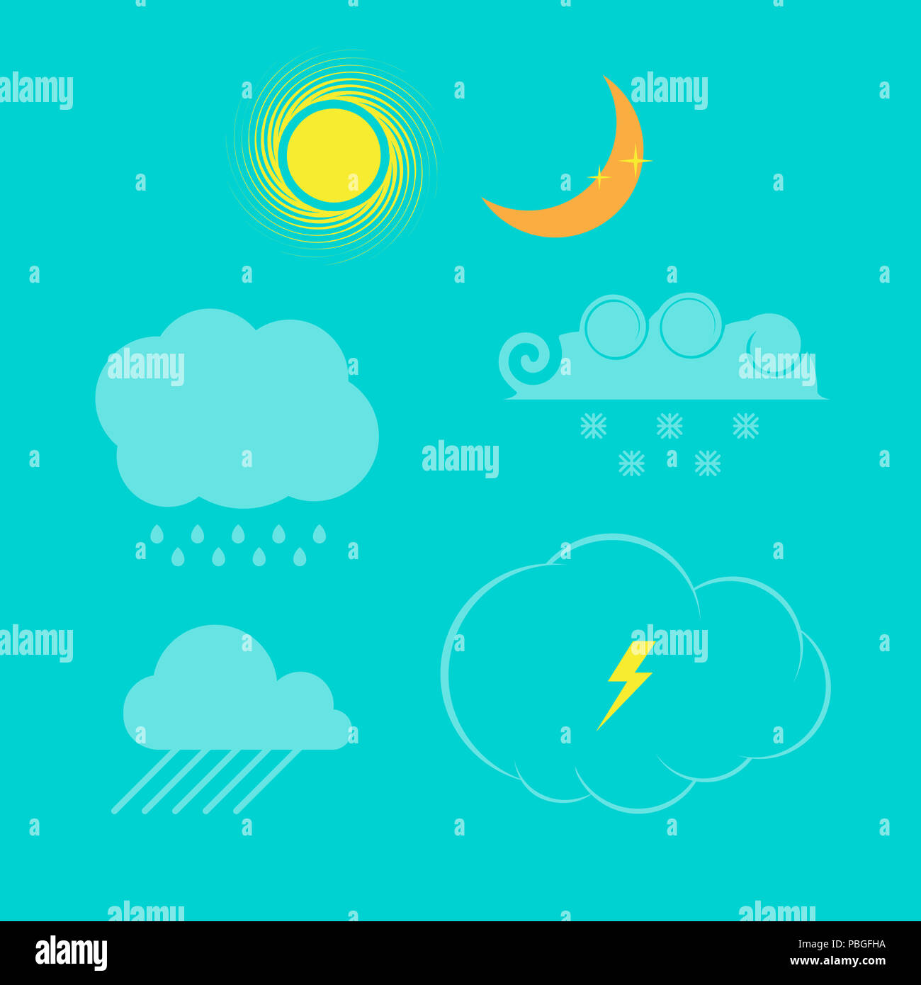 Weather Icon Set. Design Elements Set for Web Design, Banners ...