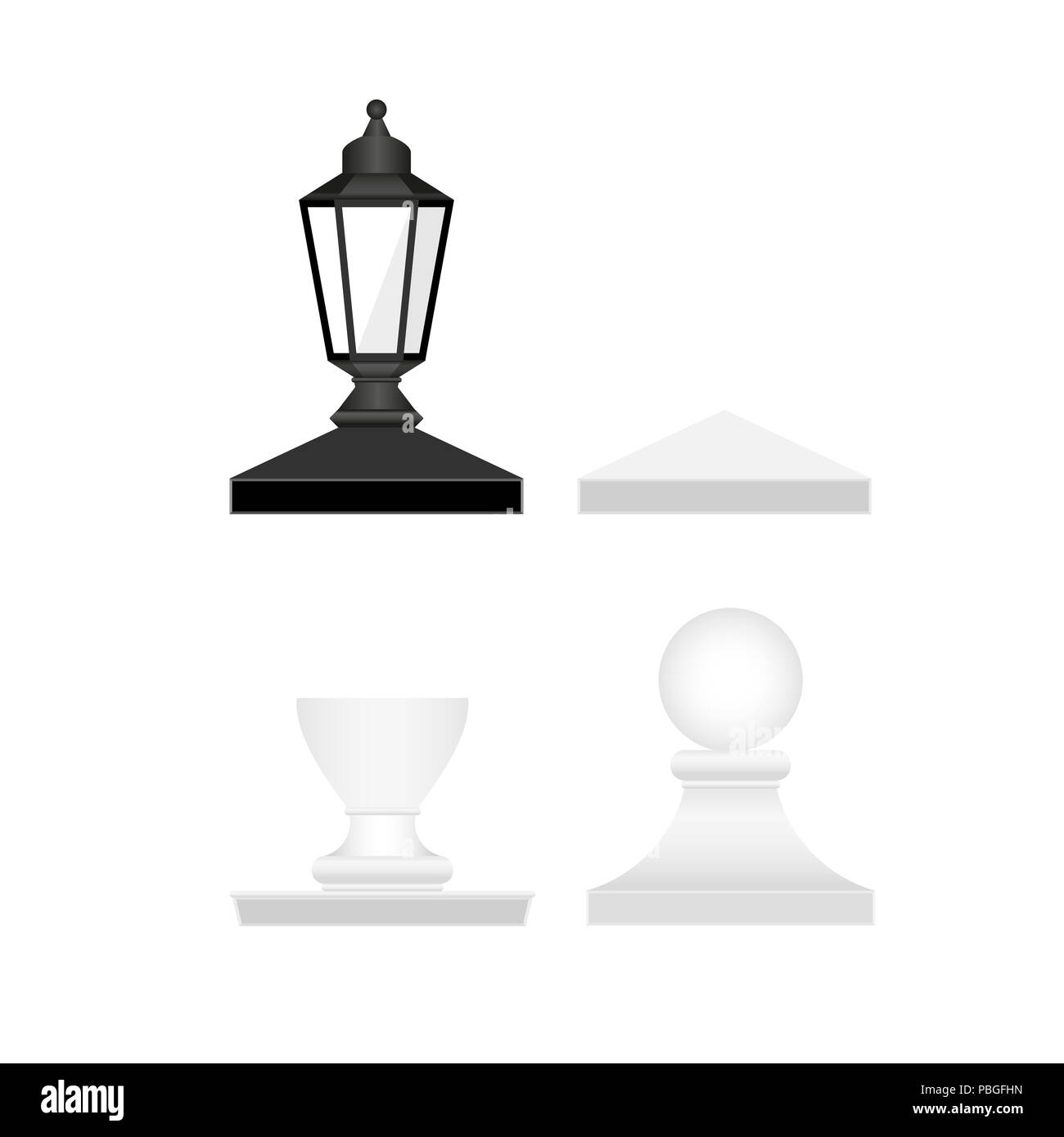 Street Lamp and Fence Posts Tops. Design Elements Set for Web Design, Banners, Presentations or Business Cards, Flyers, Brochures and Posters. - Stock Image