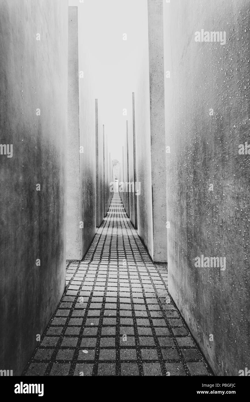 BERLIN, GERMANY - SEPTEMBER 18, 2013: The Memorial to the Murdered Jews of Europe. Stock Photo