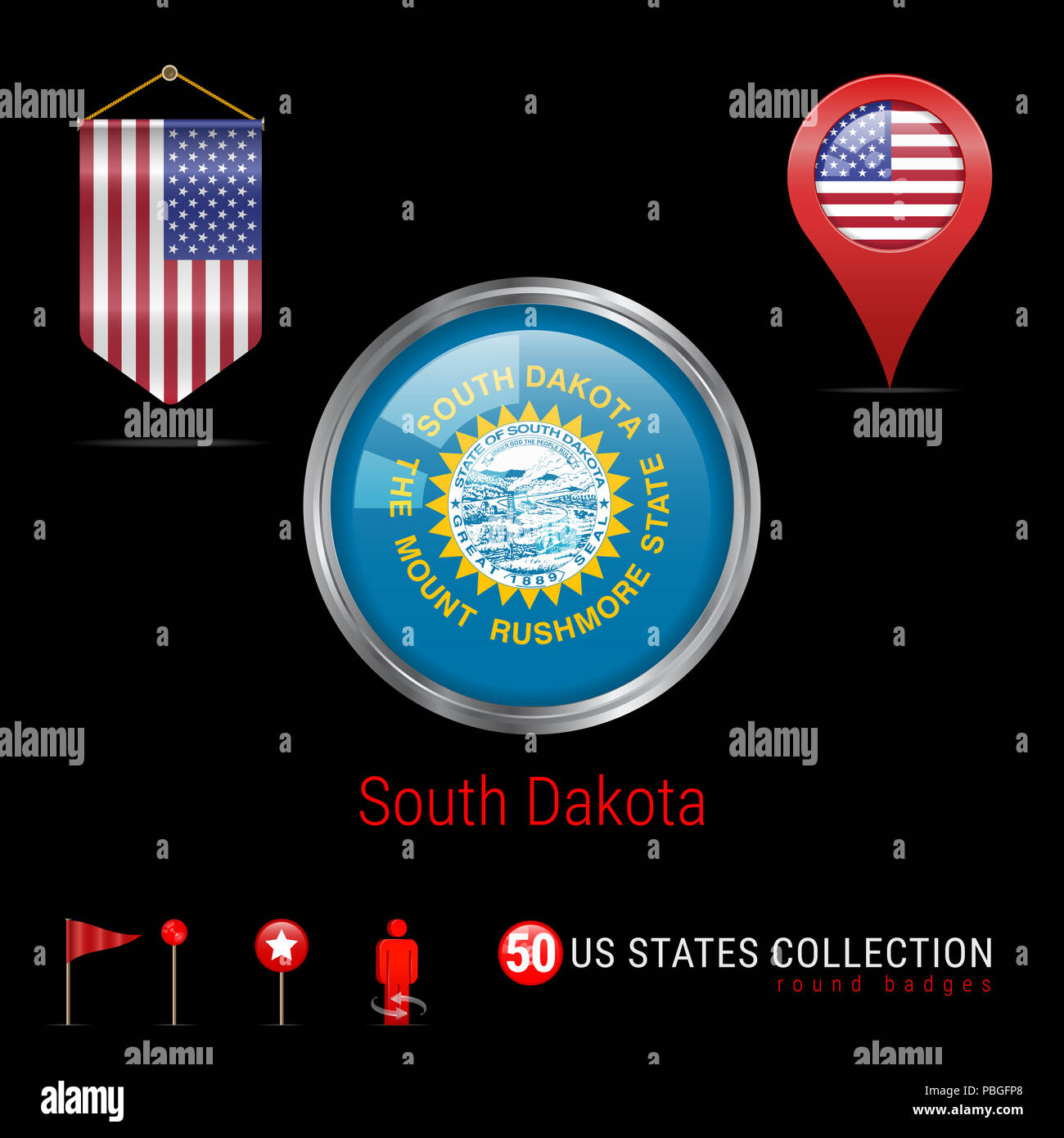 Us Map Picture Frame.Round Badge With South Dakota Us State Flag Button Flag Of South