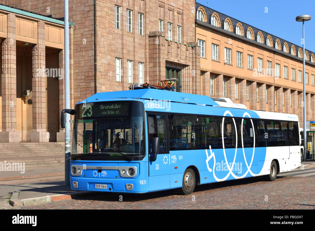 Linkker buses are first fast-charging electric buses in Finland - Stock Image