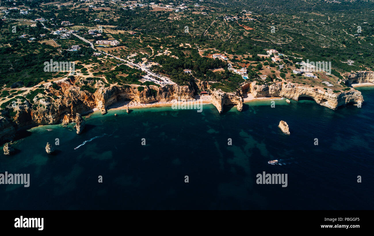 Coastline of ocean from above. Begin of Europe continent. - Stock Image