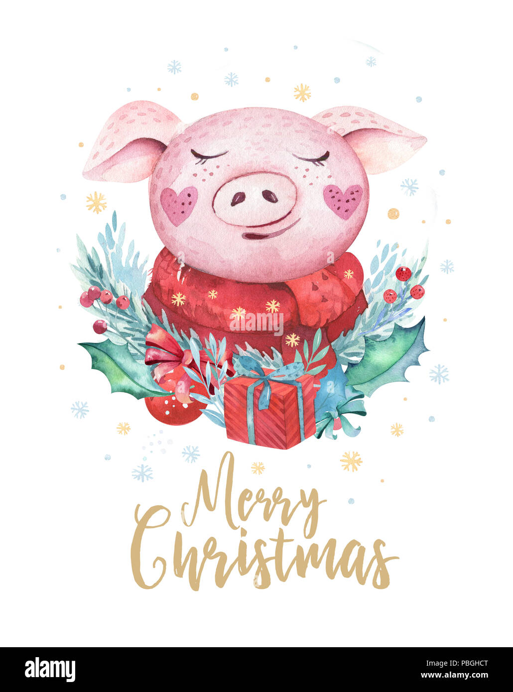 watercolor cute pig symbol 2019 illustration isolated funny cartoon