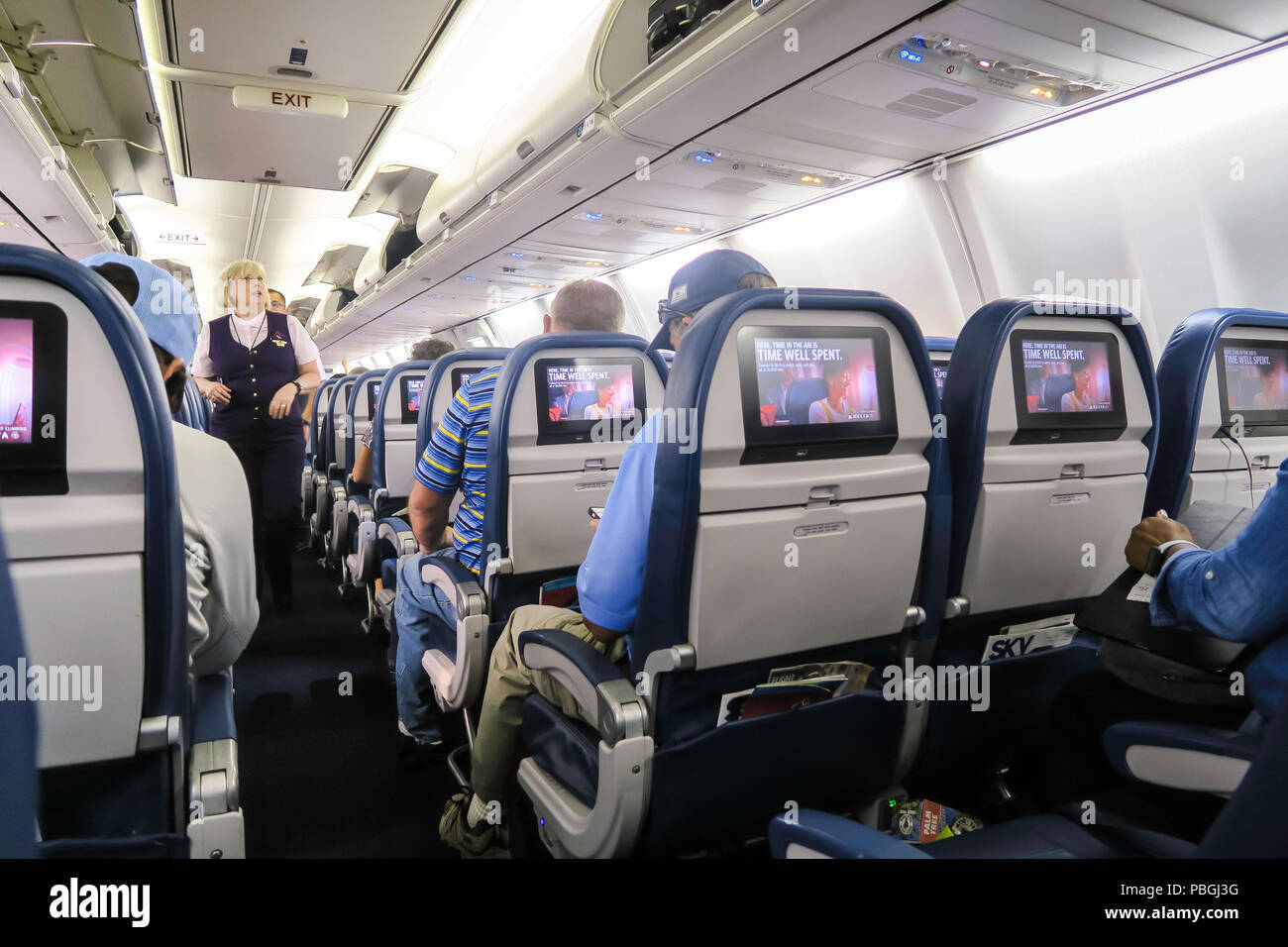 Cabin of Delta  Airplane During a Flight , USA - Stock Image