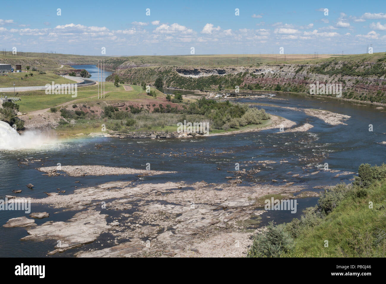 Rainbow Falls and Missouri River in Great Falls, Montana, USA - Stock Image