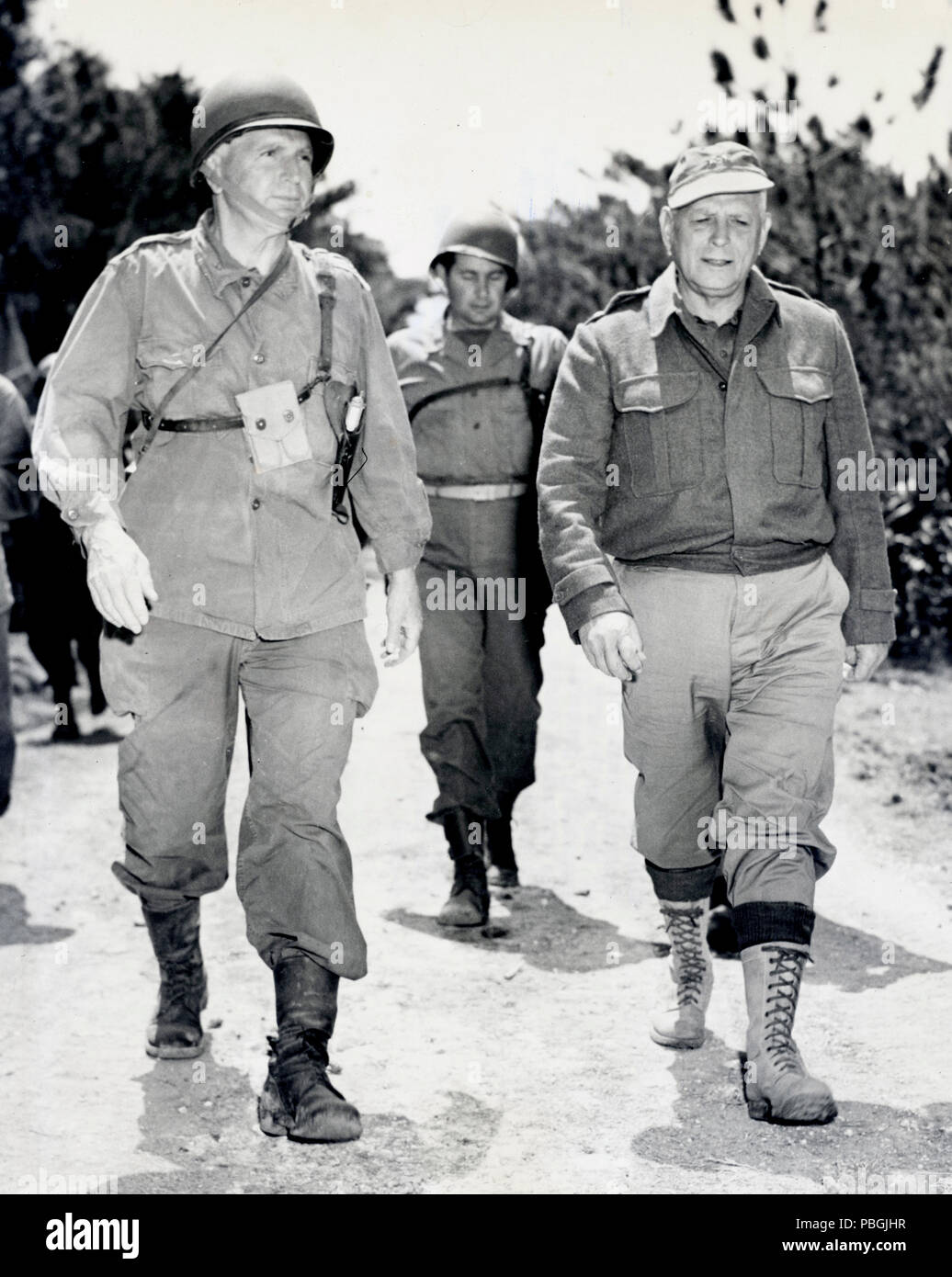 Lt. Gen Simon Bolivar Buckner (left) commanding general of the tenth army killed in action  with his eventual replacement Marine Maj Gen. Roy Geiger - Stock Image