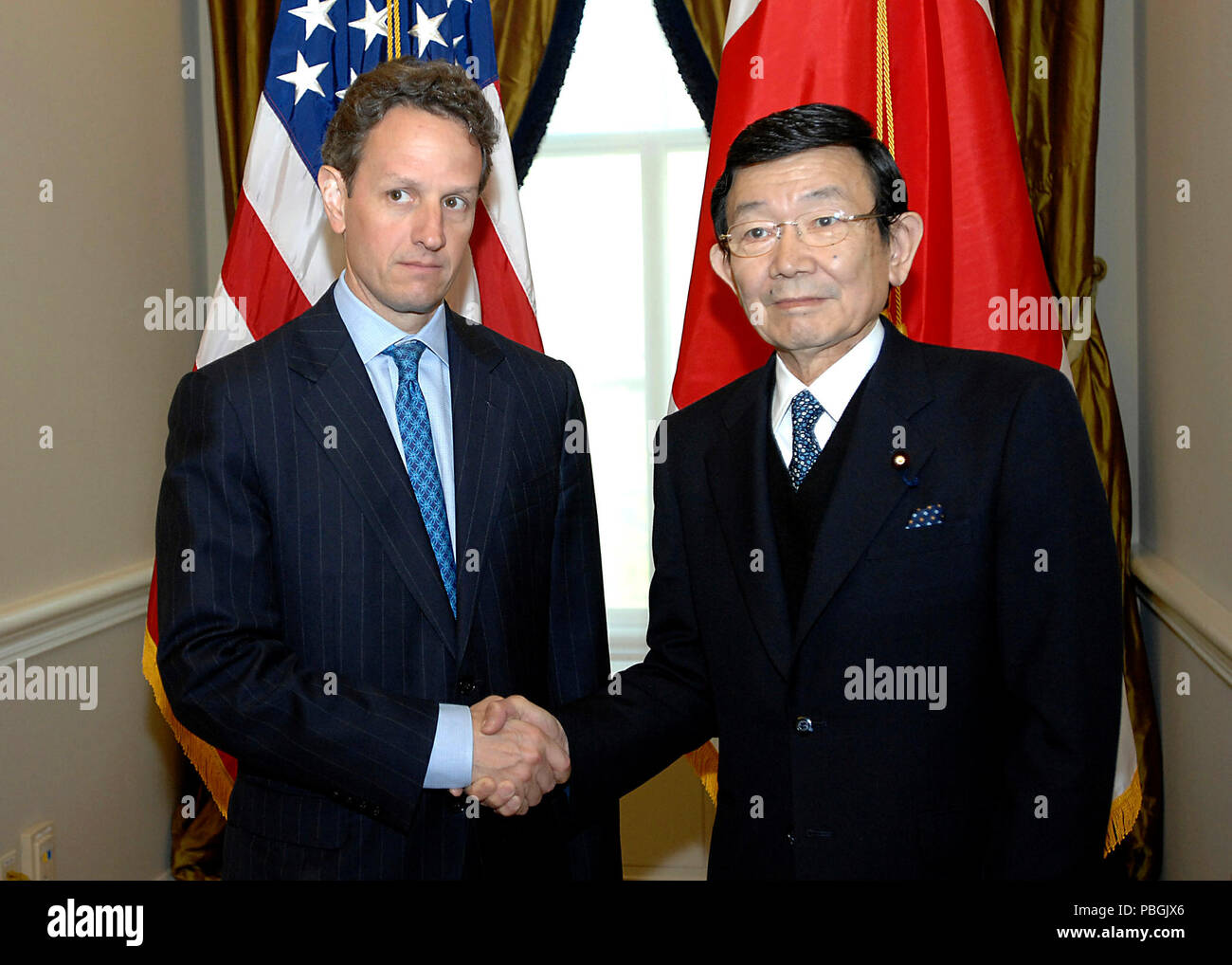 On April 24, 2009, Secretary Geithner conducted a bilateral meeting at Treasury with Japanese Finance Minister Yosano. - Stock Image
