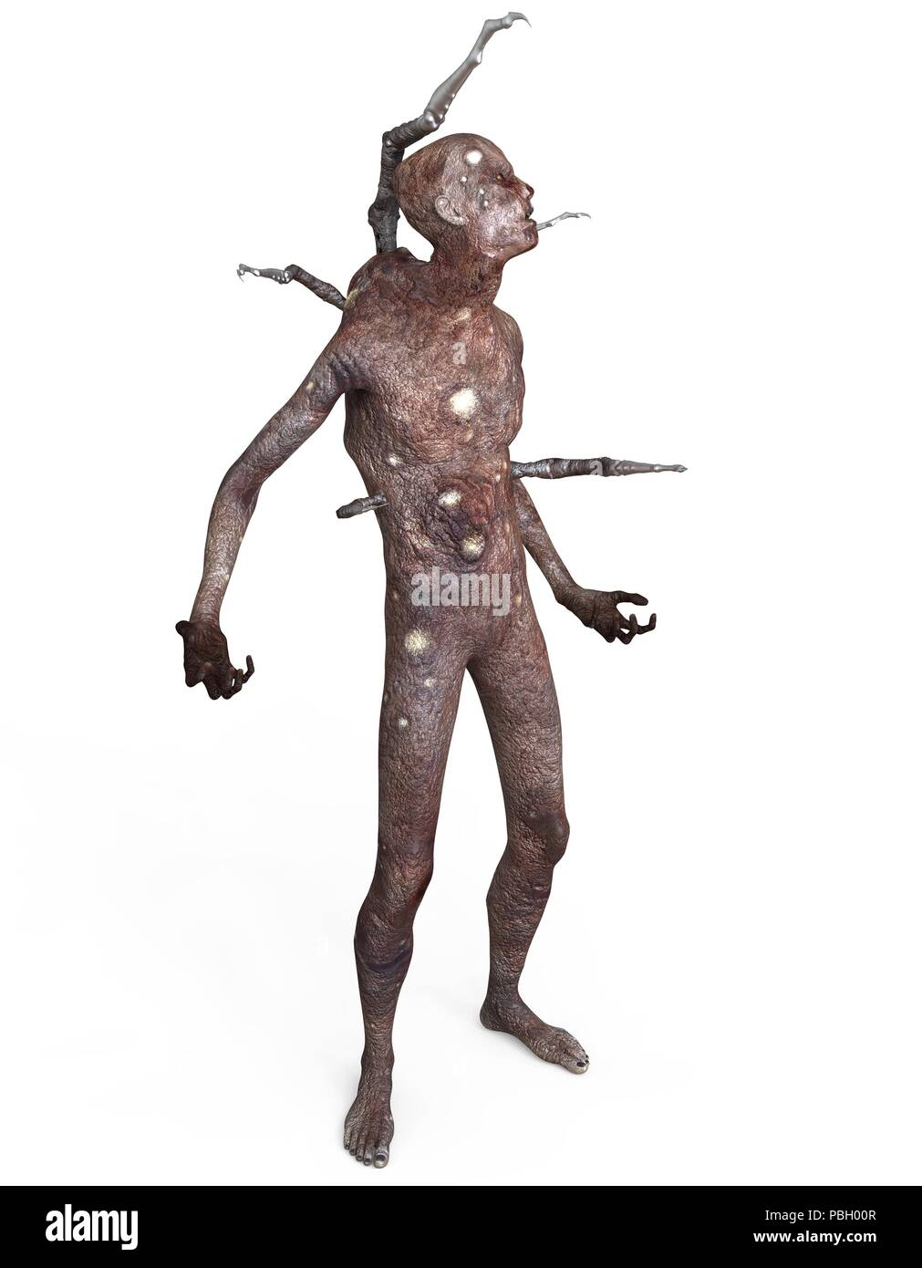 A man infected with an alien virus 3d illustration isolated on white background - Stock Image