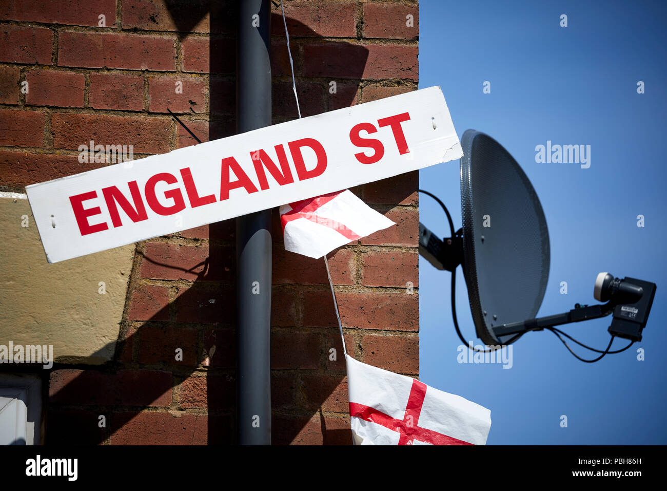 Wales Street in Oldham, Gtr Manchester has changed to name to England Street  for the World Cup 2018 - Stock Image