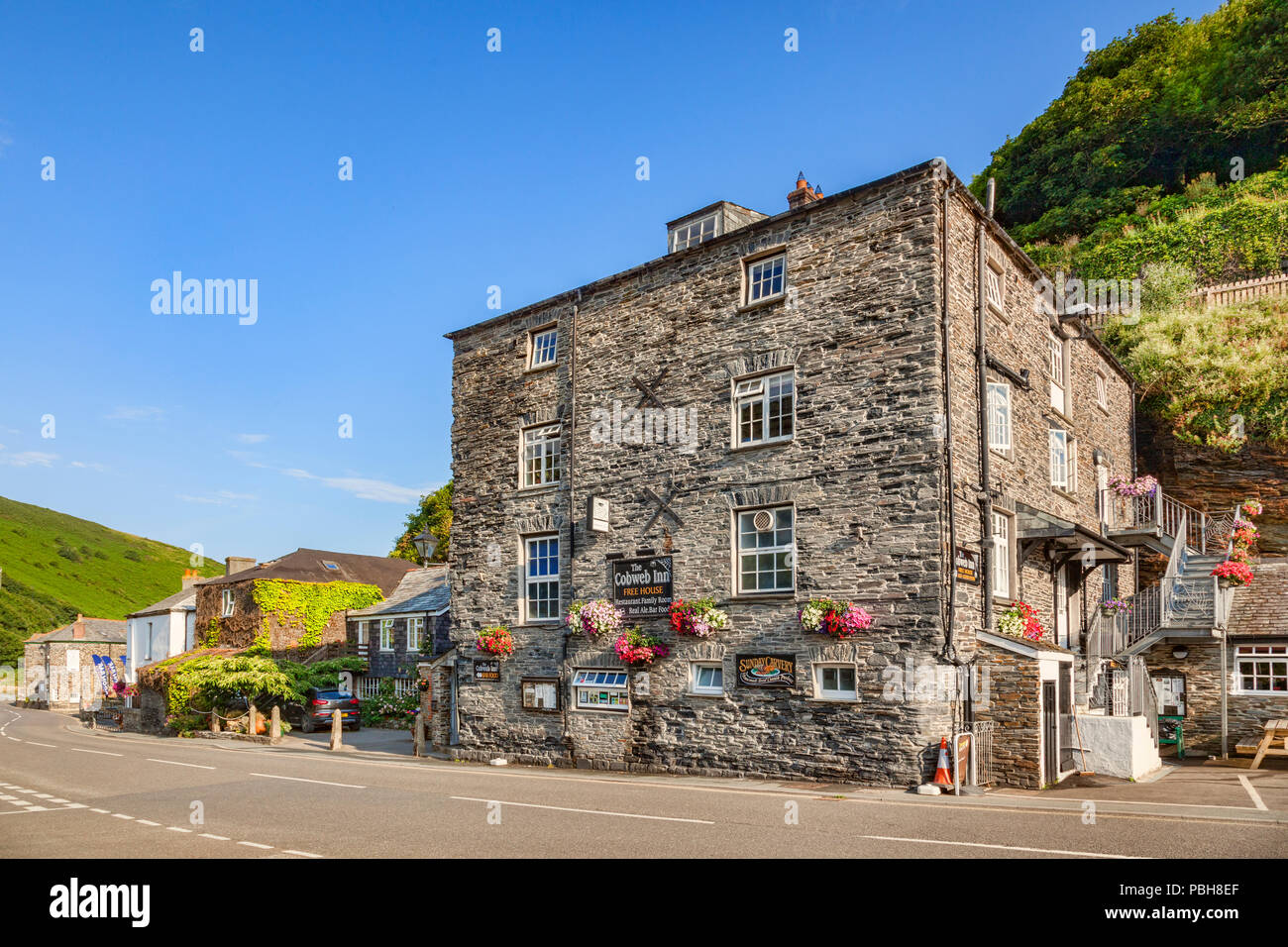 2 July 2018: Boscastle, Cornwall, UK: The Cobweb Inn, a Free House in the Cornish village. - Stock Image