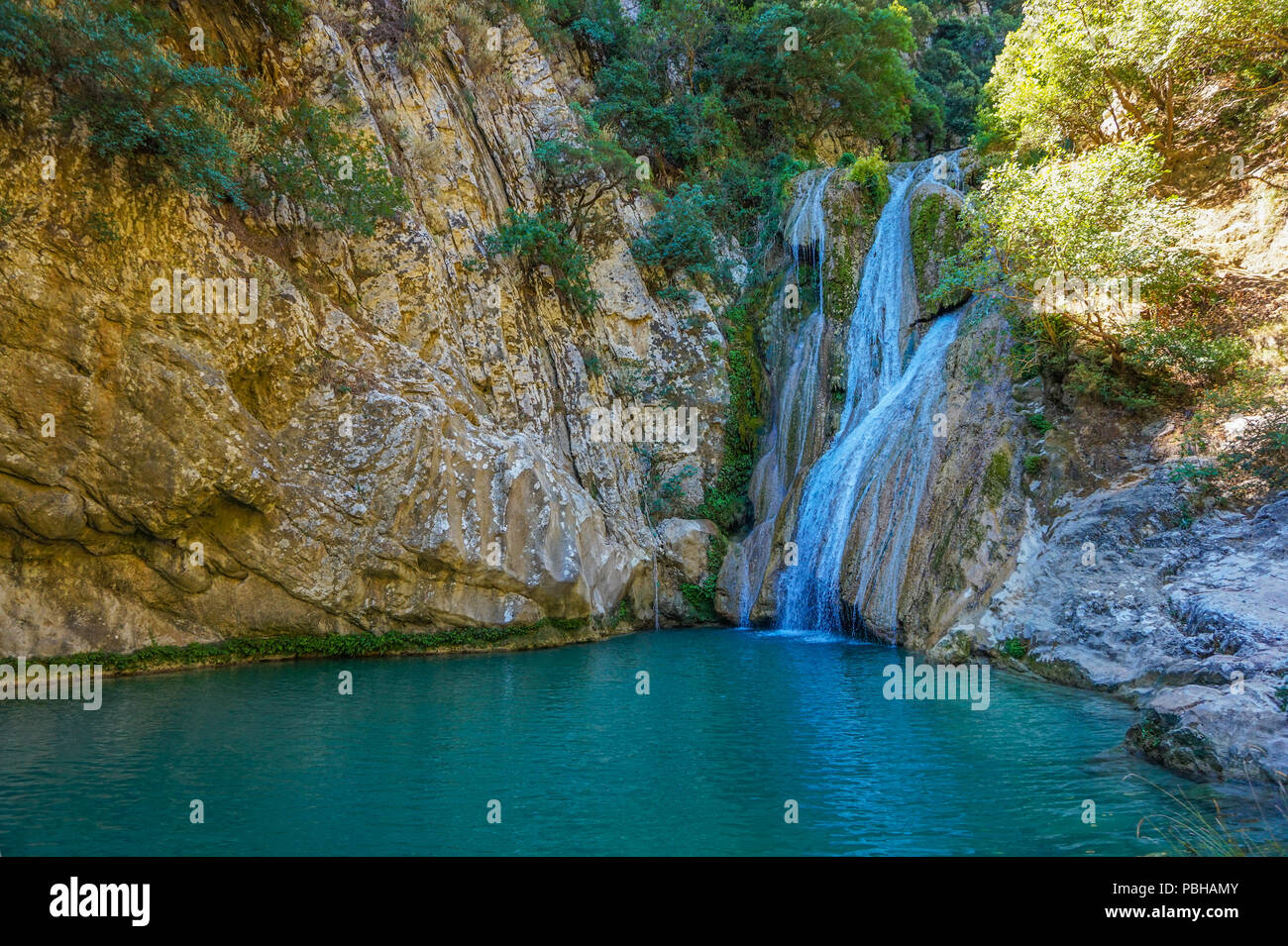 In the community of Haravgi of the Municipality of Messina, lies Polylimnio, a complex of many natural lakes. Stock Photo