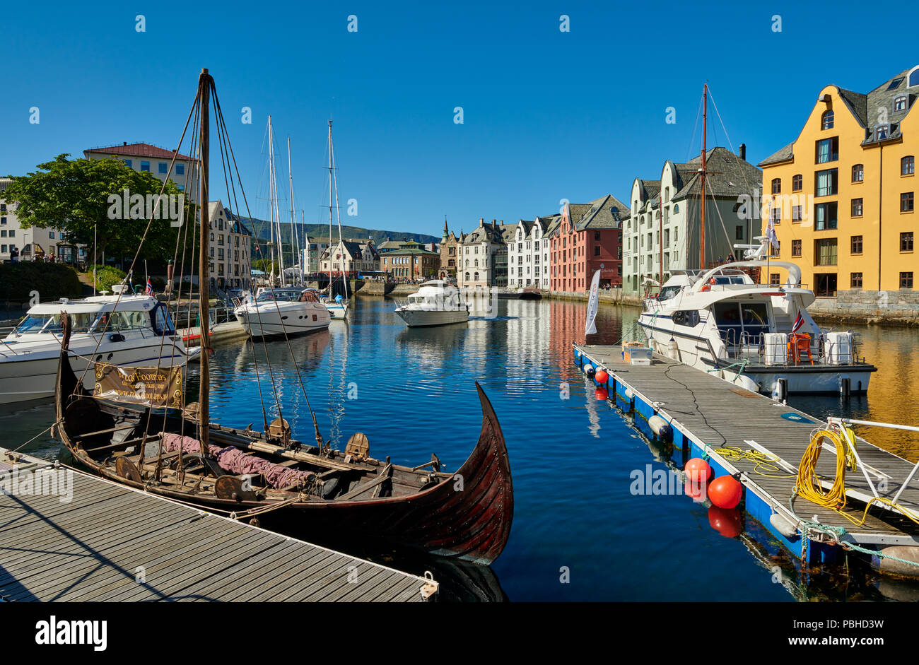 view of old harbor with historical Art Nouveau buildings, Ålesund, Norway, Europe - Stock Image