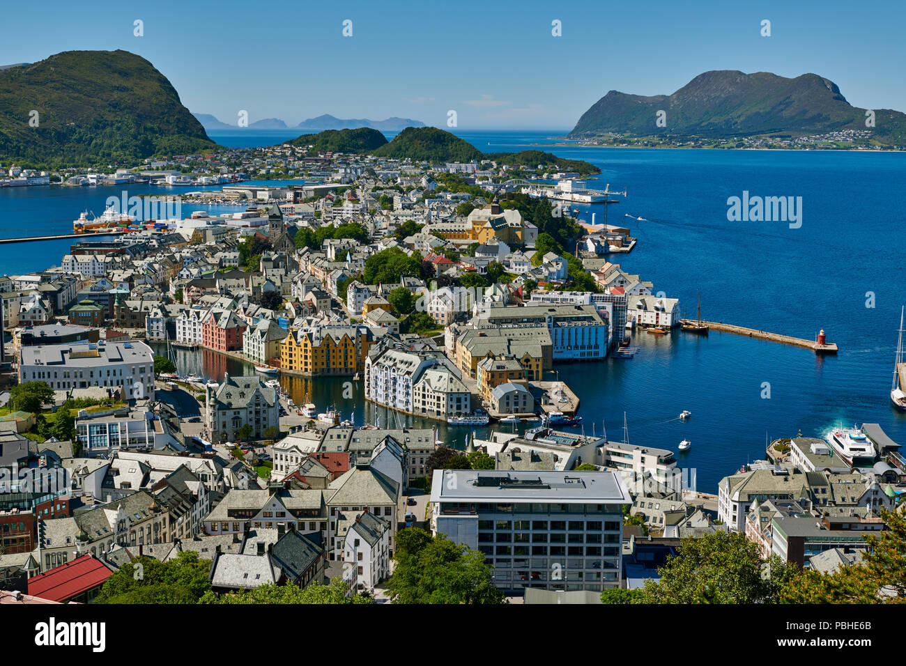 View from Aksla hill over Alesund and surrounding waters, Byrampen Viewpoint, More og Romsdal, Norway, Scandinavia, Europe - Stock Image